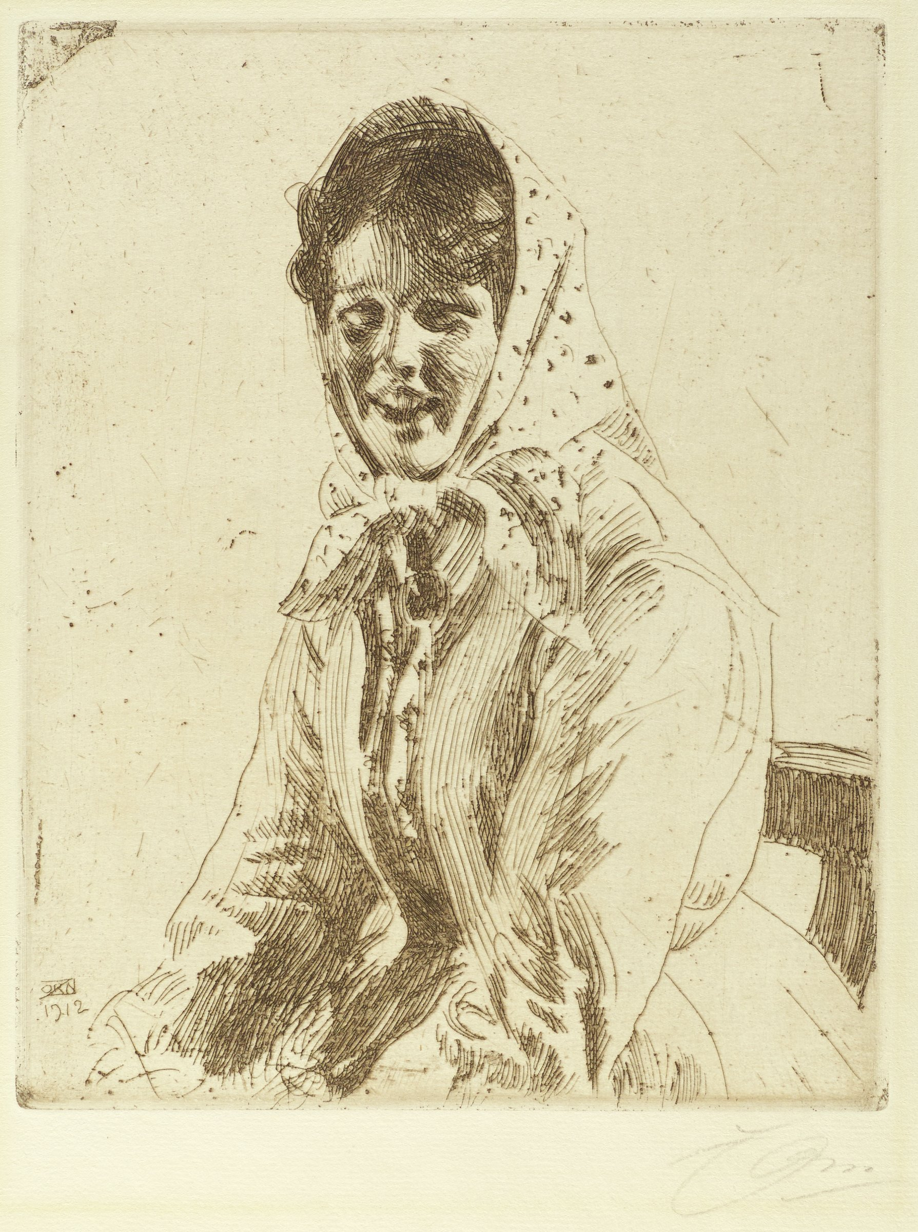 A girl sits in a chair, slightly leaning forward. She is smiling out at the viewer. She wears a scarf wrapped around her head and tied under her chin.