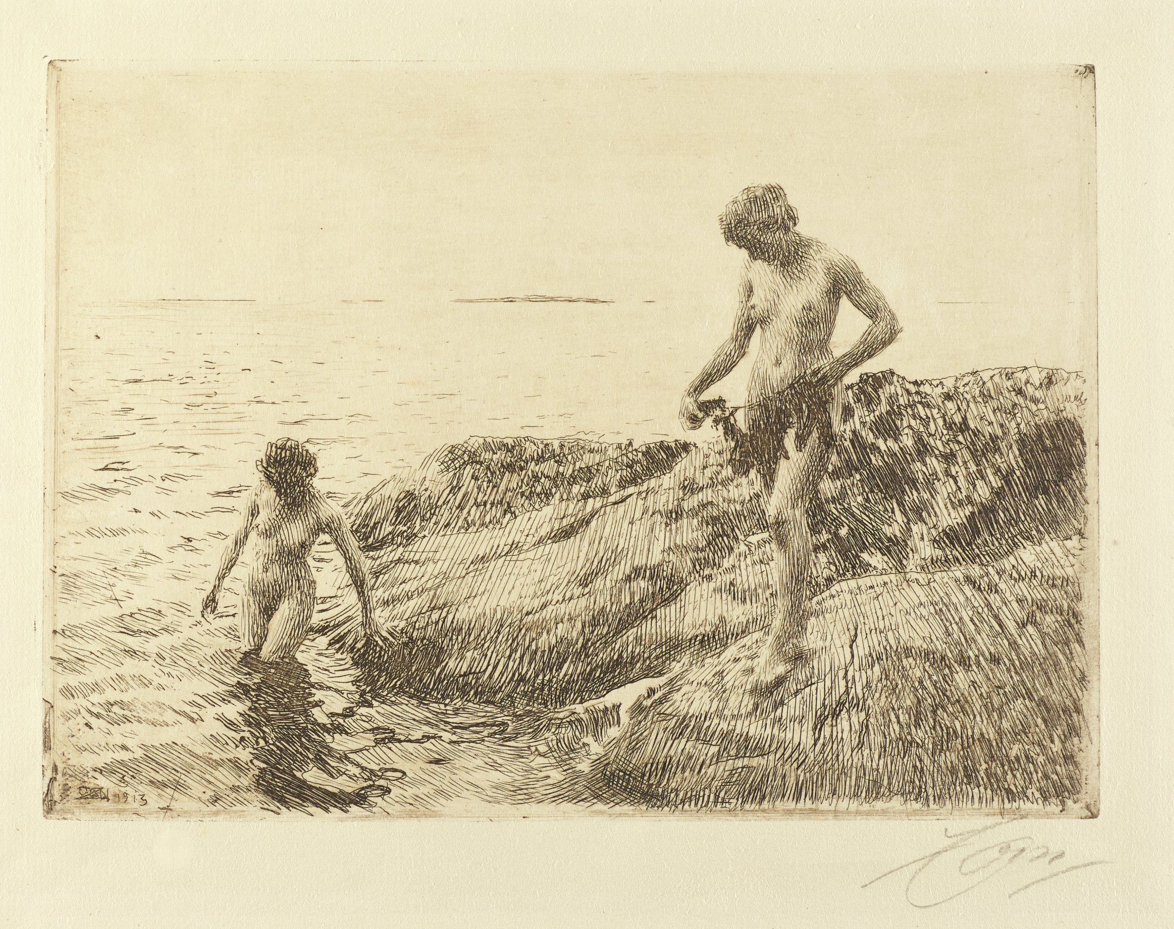 Two nude women on the rocky shore of a sea. One woman stands in the water that is up to her thighs with one hand still holding onto a rock. The other woman stands on the shore holding a seaweed-like object in her hands. Both look downward at the water.