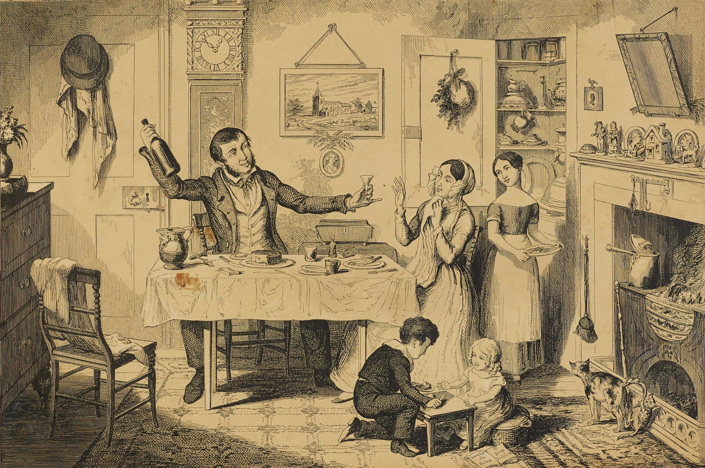 A family is seen in an interior. The man sits at a table and holds a bottle up as he hands the woman a wine glass.