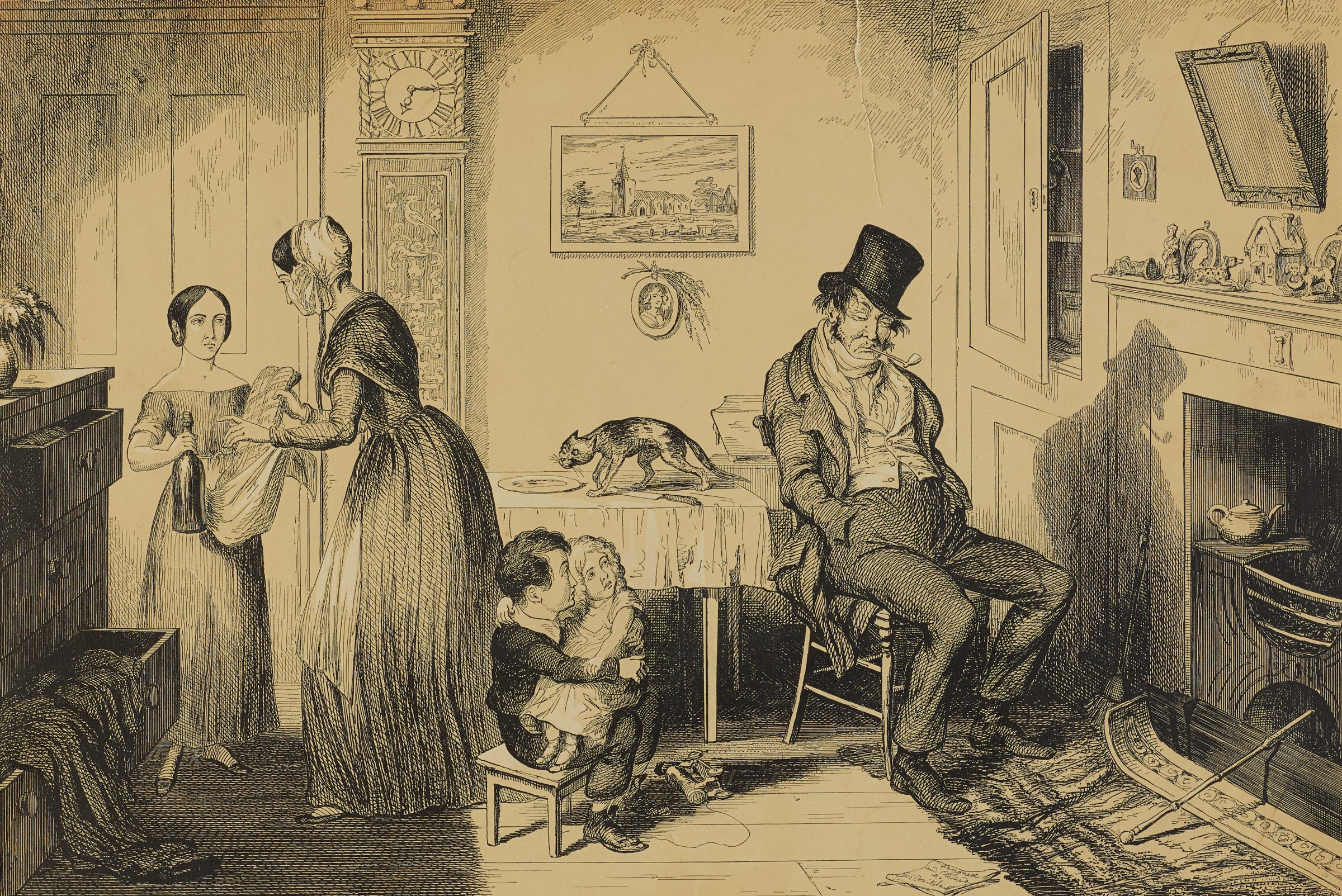A man sits in a chair on the right side of the room with his hands in his pockets with a downcast expression. A woman and young girl hold a garment and a bottle in their hands on the left side of the room.