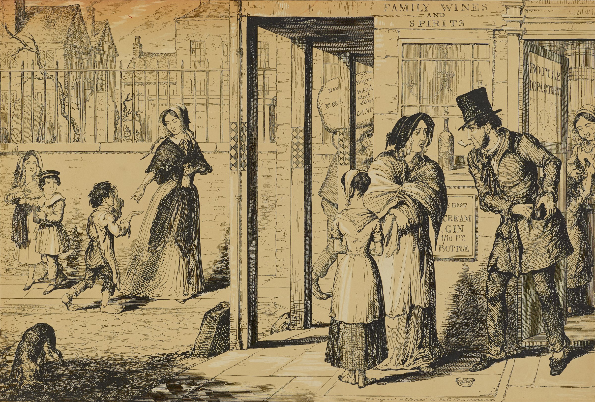 The man and woman with their children stand outside a spirit's store. They look at one another as the man slides a bottle into his coat pocket.