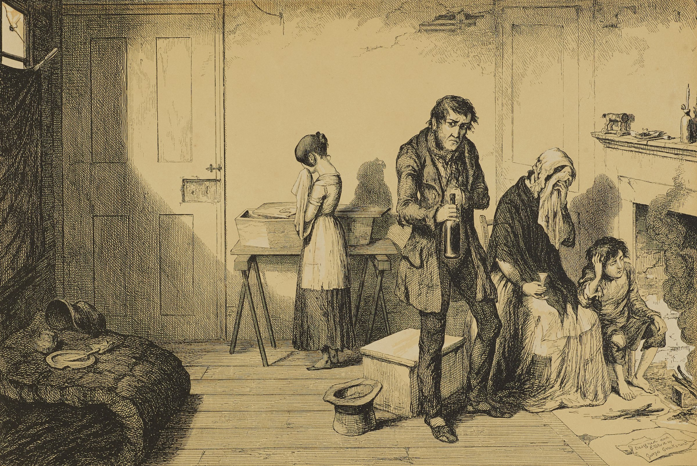 The man stands holding a bottle in his hand, The woman and young boy sit in front of the fire with grieving expressions. The young girl stands behind them looking down at a small, partially open coffin.