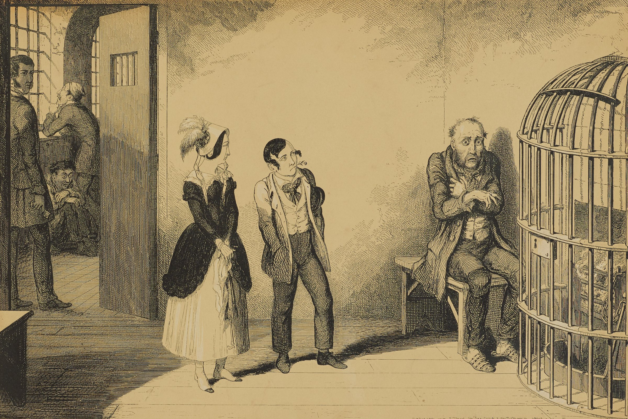 The young girl and boy stand in the center looking at the man who sits on a bench. He shivers and looks forward with a frightened expression.