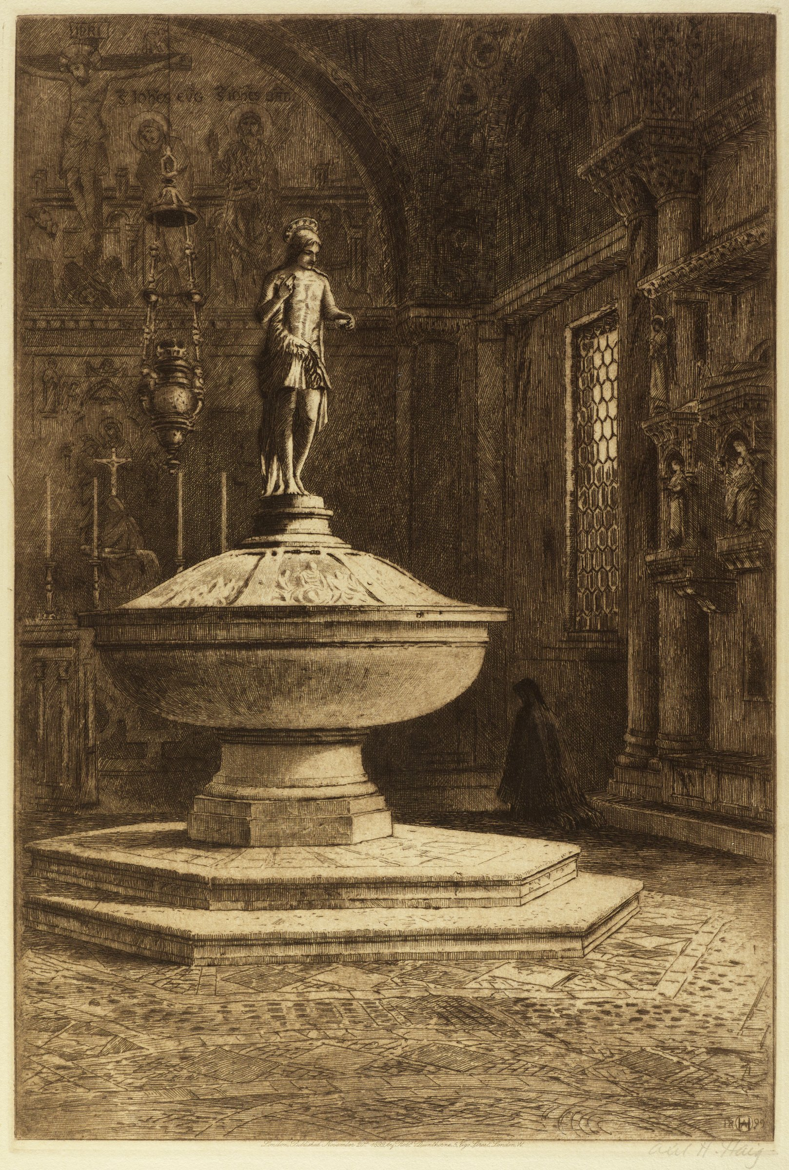 A large baptistry sits off center in the composition on a two stepped pedestal. It is topped by a sculpted figure of Jesus.  A figure kneels in prayer in the shadowy background.