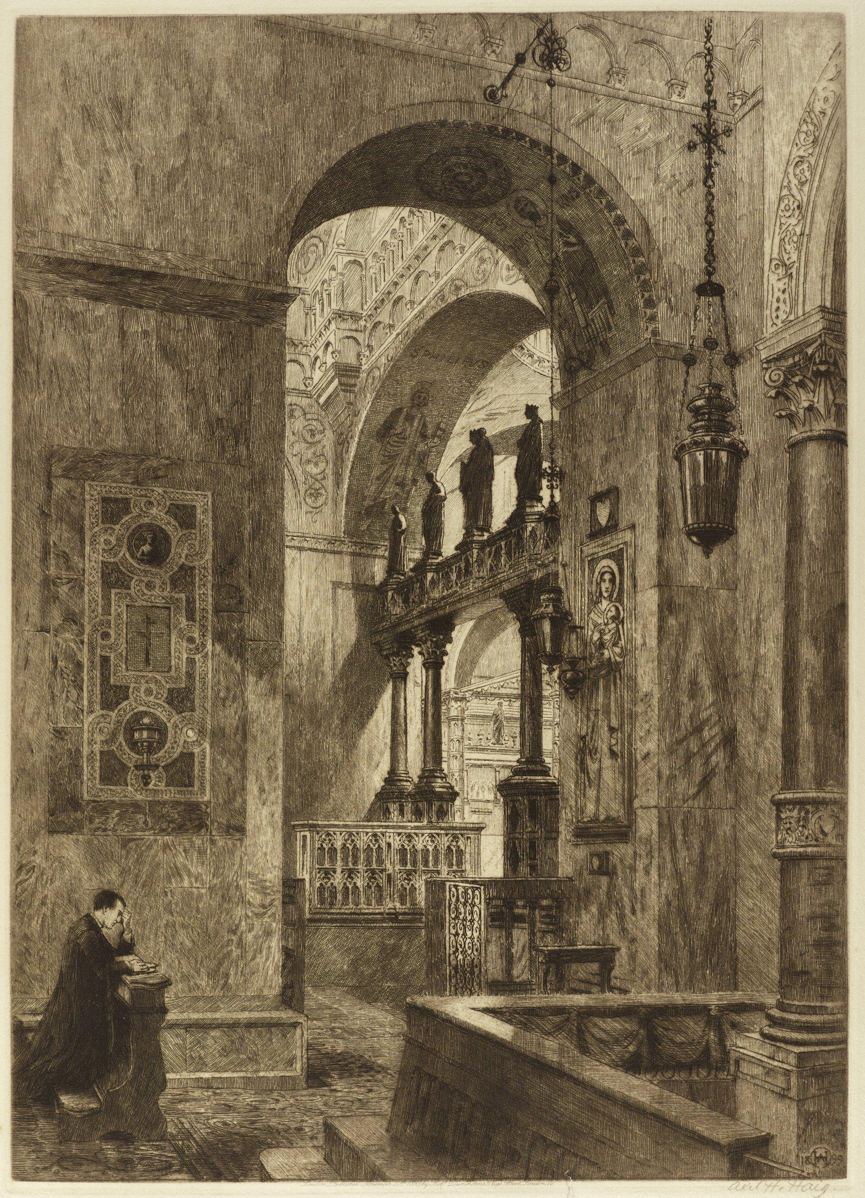In a church interior, a man kneels in prayer near an archway.