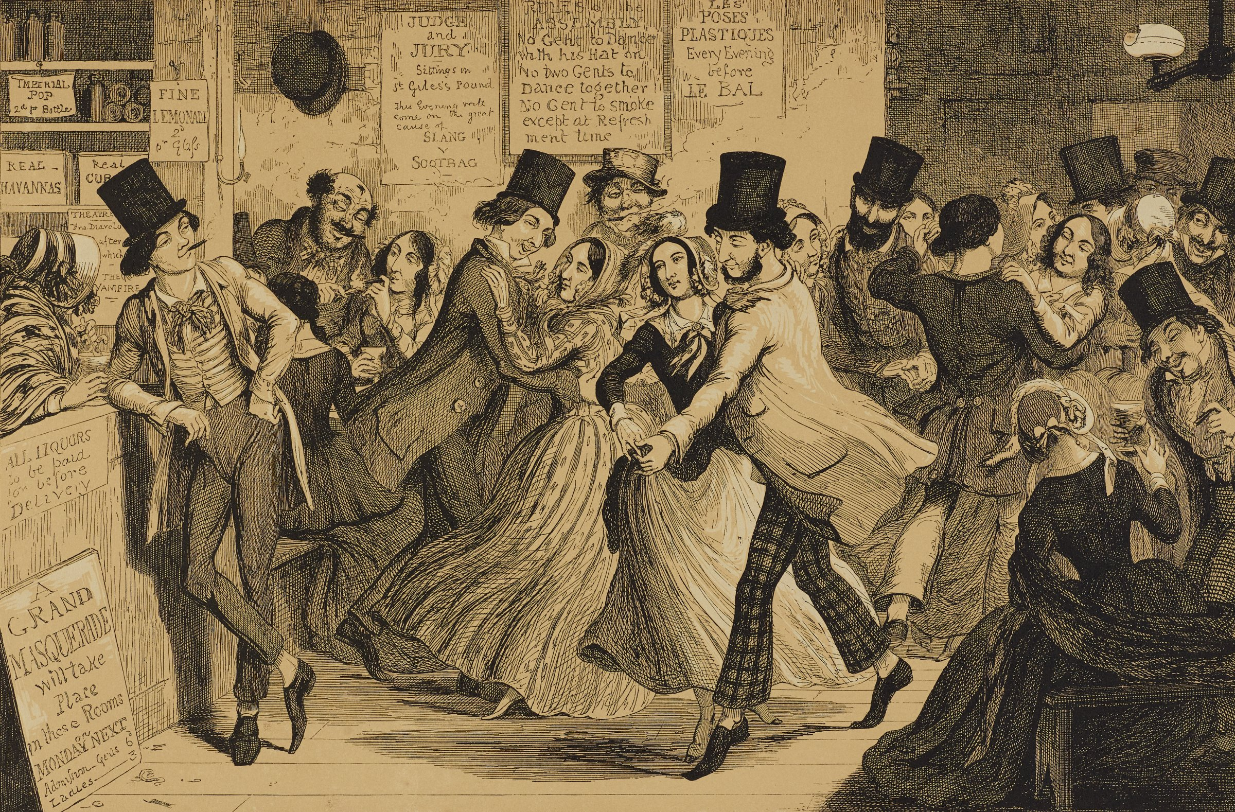 In a crowded gin-shop, the young girl dances with a man in patterned pants. A young man smirks at the couple as he leans on the bar.