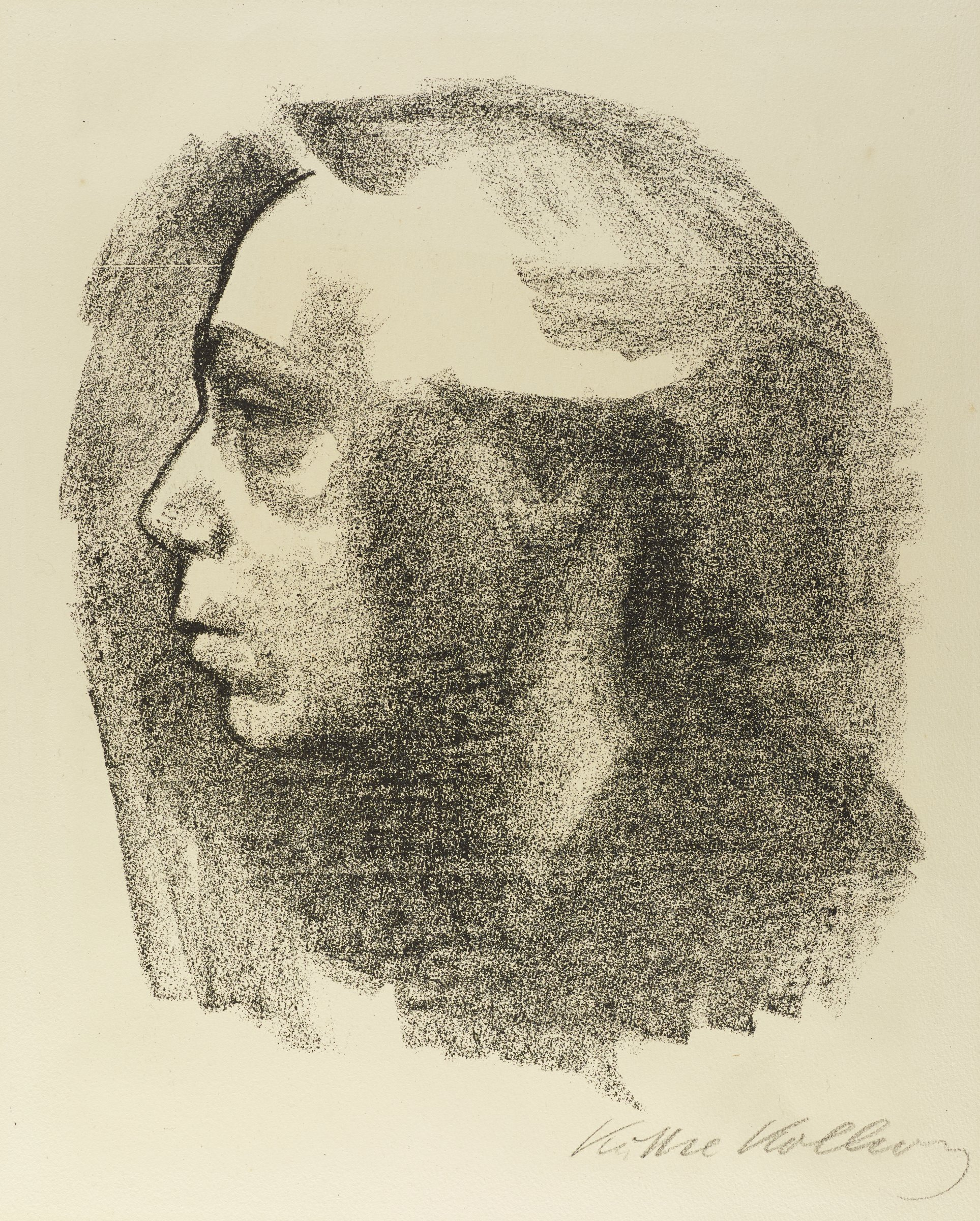 A self-portrait of the artist is depicted. She is seen in profile with a somber expression. She is framed by a textured black background.