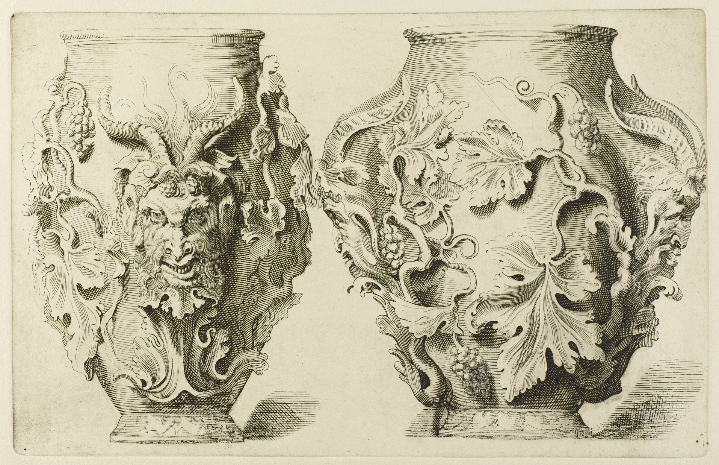 A single vase is shown in profile from two angles. The vase is decorated with foliage and images of horned figures.