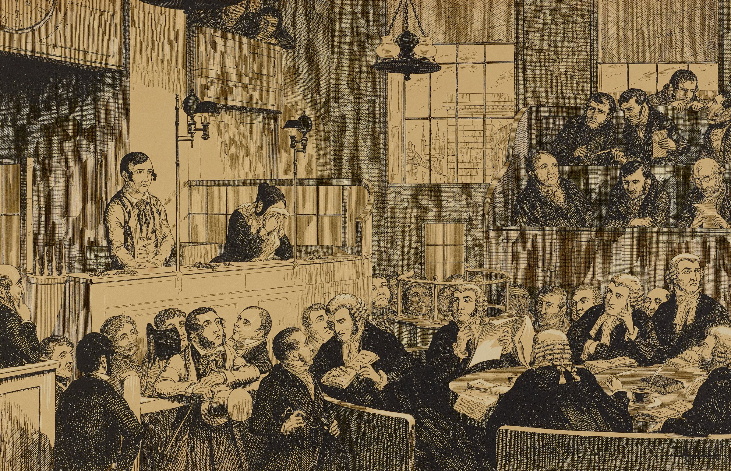 In a court room, judges sit at a round table in the lower right. A young man stands on the left as a woman beside him cries into a handkerchief.