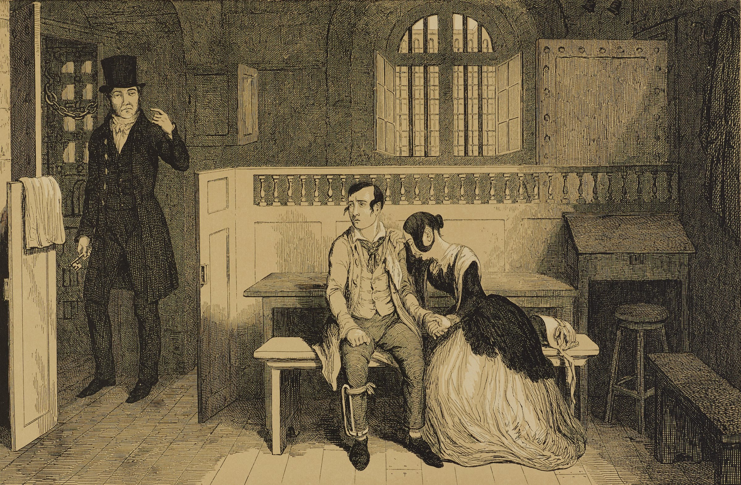 A young man sits on a bench looking towards a man standing at the door gesturing for him to follow. A young woman leans her head on the young man's shoulder and cries.