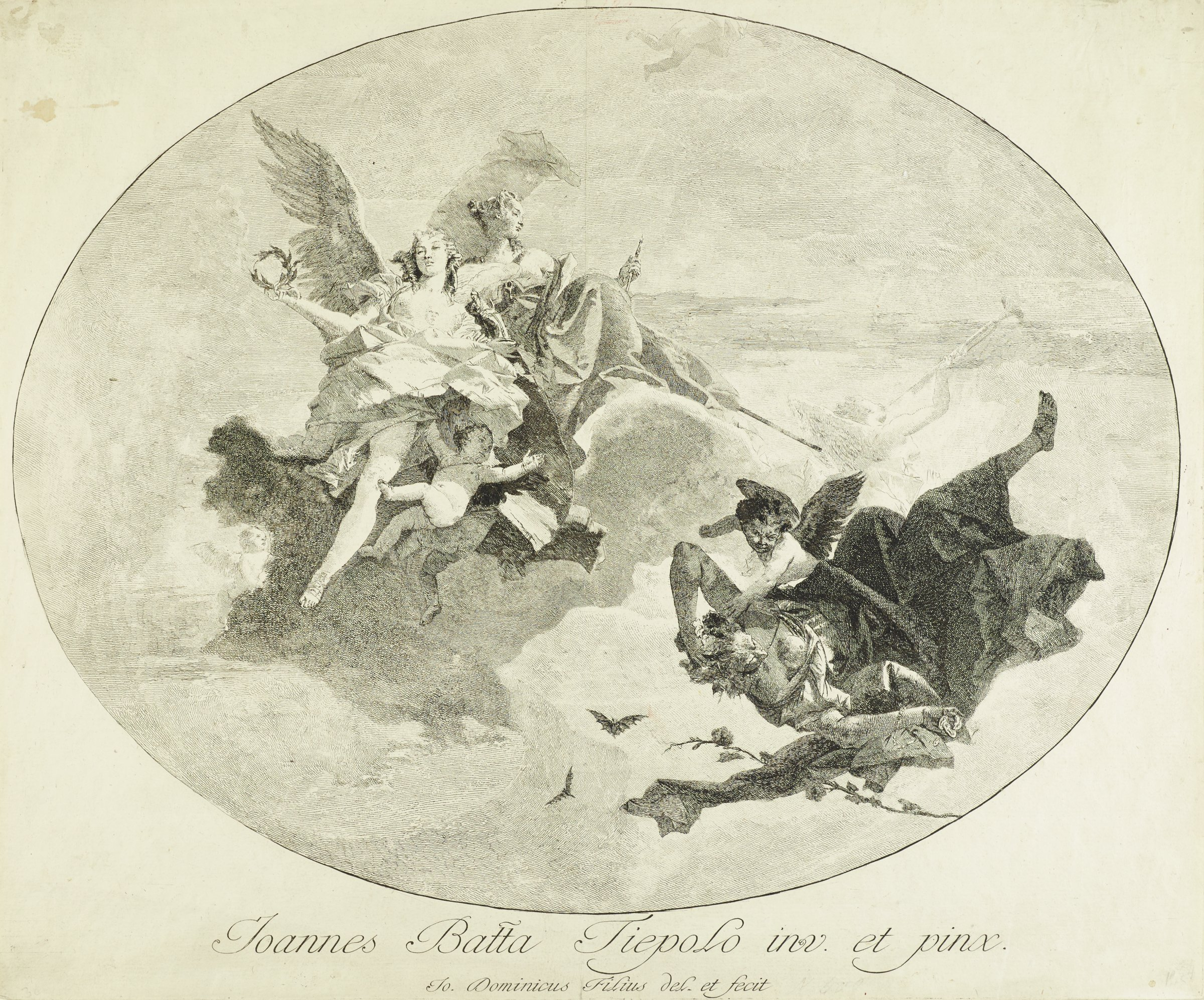 Two flying female figures and a young child populate the upper left. In the lower right, a young winged figure catches an older male figure who falls through the air on his back. In the background on the right, a figure blows a trumpet.