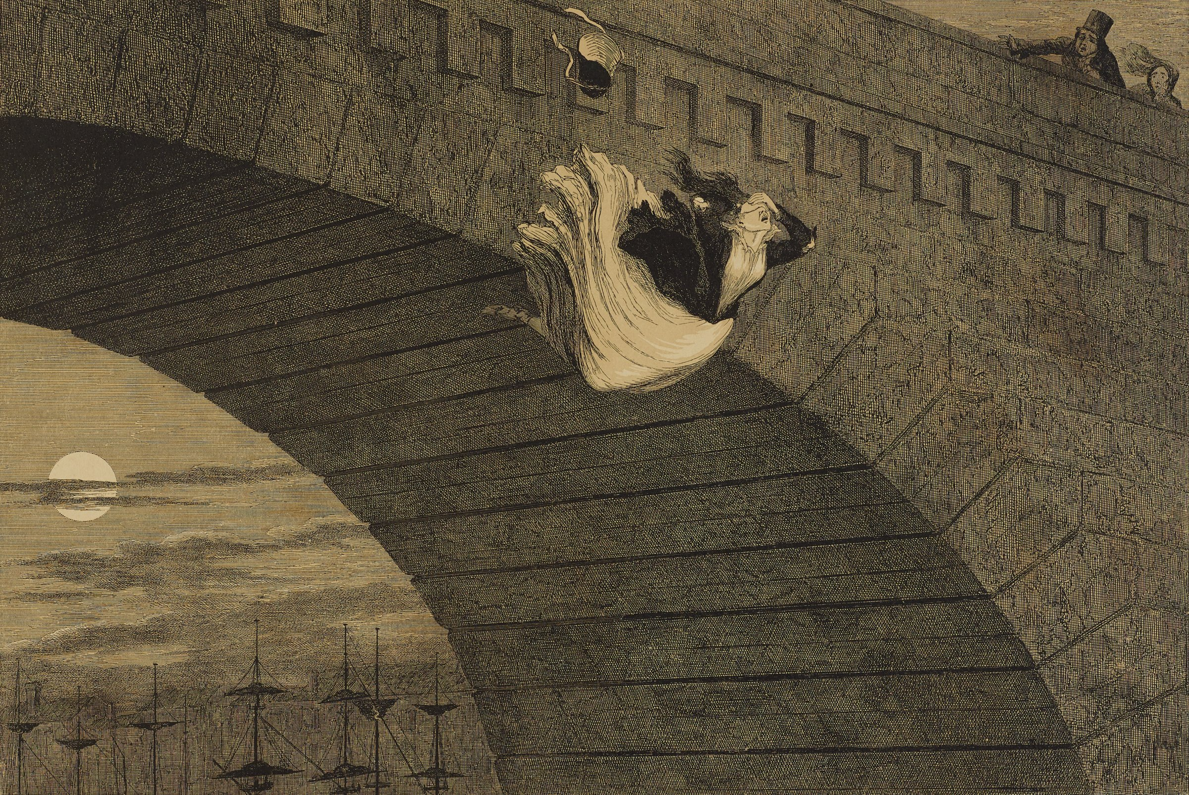 A young woman jumps off a bridge as she holds her hand over her eyes. Figures in the upper right look on in despair. The tops of ships are seen in the bottom left.
