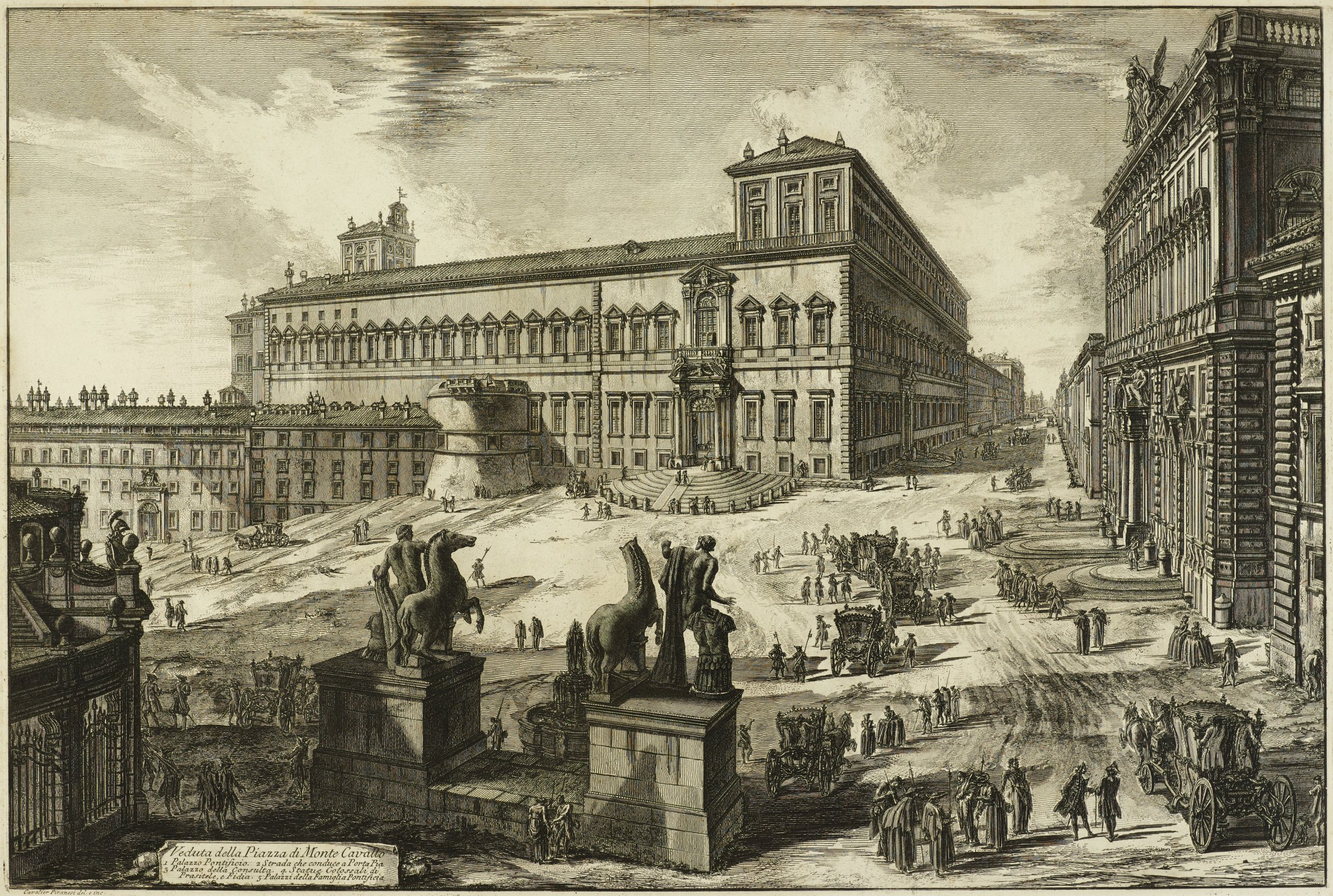 View is from just behind the Horse Tamers statues (before obelisk in place), looking across the piazza (now called Piazza del Quirinale) toward the Palazzo Pontificio (now called Quirinal Palace), and down Via Pia.