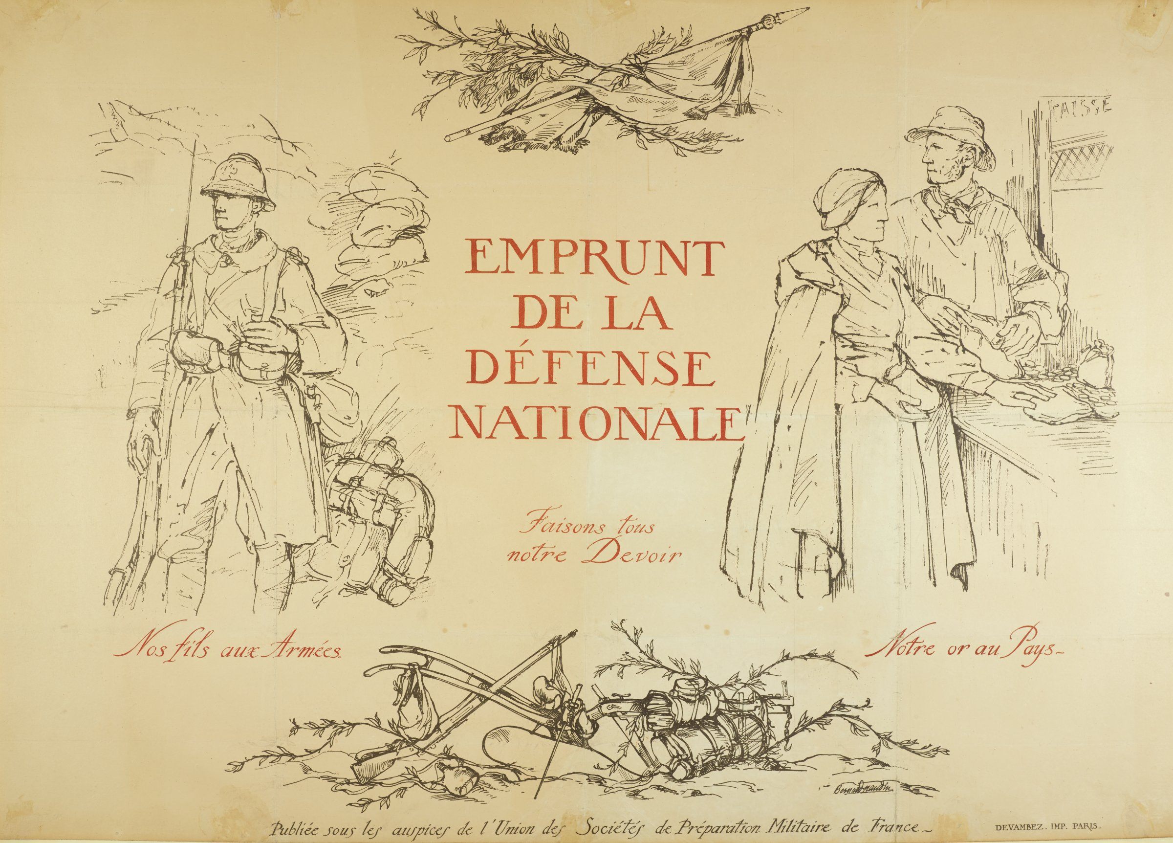 Four images are shown within a largely void space. On the left, a soldier stands with a rifle propped against his shoulder. On the right, a man and woman place small pouches on a counter as the man looks back over his shoulder. On the top, a flag hangs over a tree branch. On the bottom, various weapons and bundles lay between plant life.