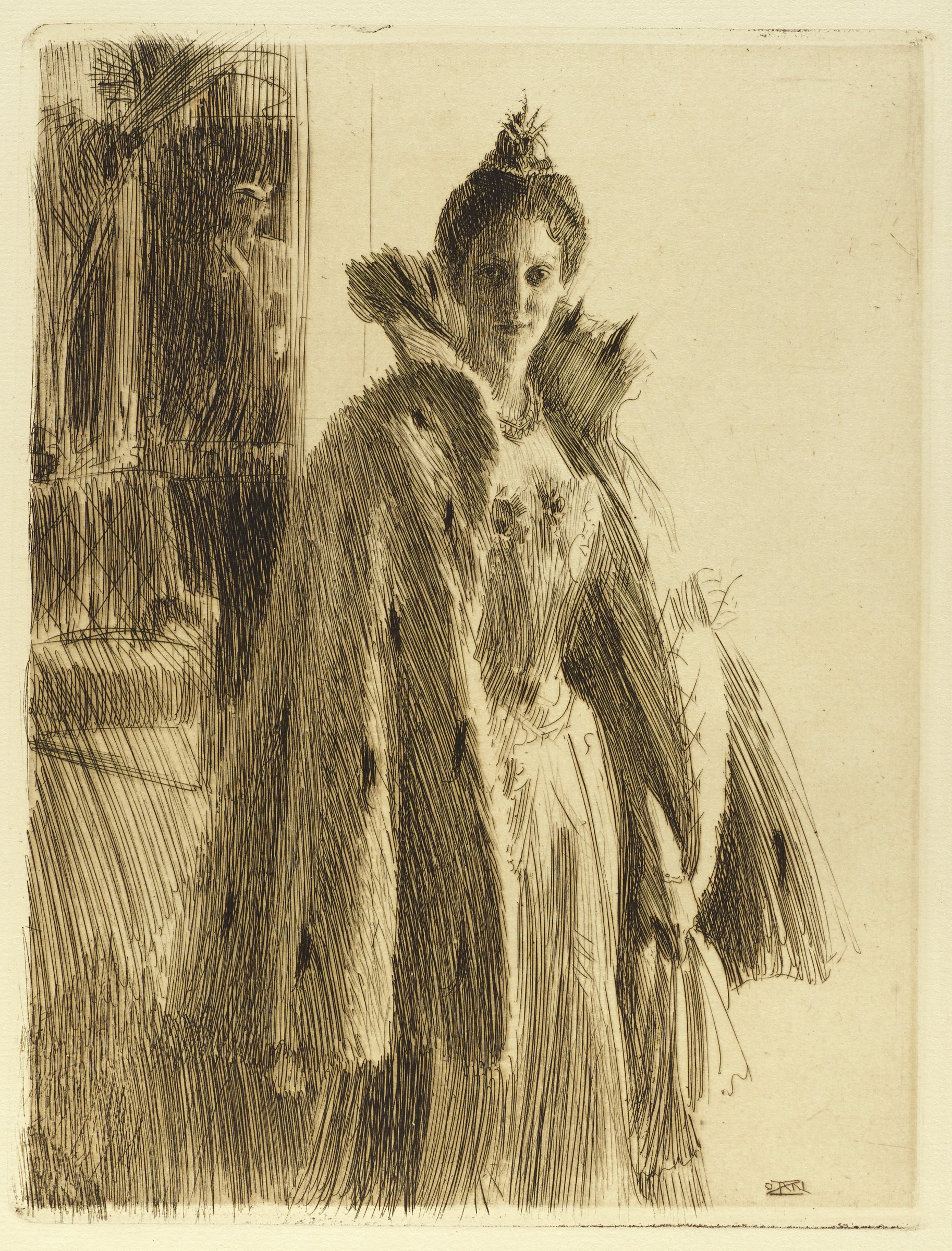 Portrait of Princess Ingeborg of Sweden. She stands upright, slightly angled to the right, looking out at the viewer. She wears a long gown with a high collared cape draped over her shoulers. Behind her to the left, a man in formal attire is seen.