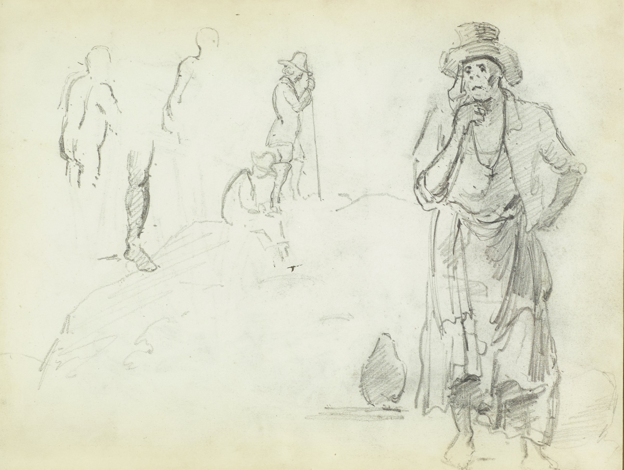 Recto: Full length frontal figure of standing man to the right of sheet; to the left are sketches of men in profile and a leg.Verso: Images are upside down, in orientation to recto. Three sketches of female figures, two full-length, profile views to the left. One woman with hat, another with scarf. Looser sketch of third woman, in center of sheet.