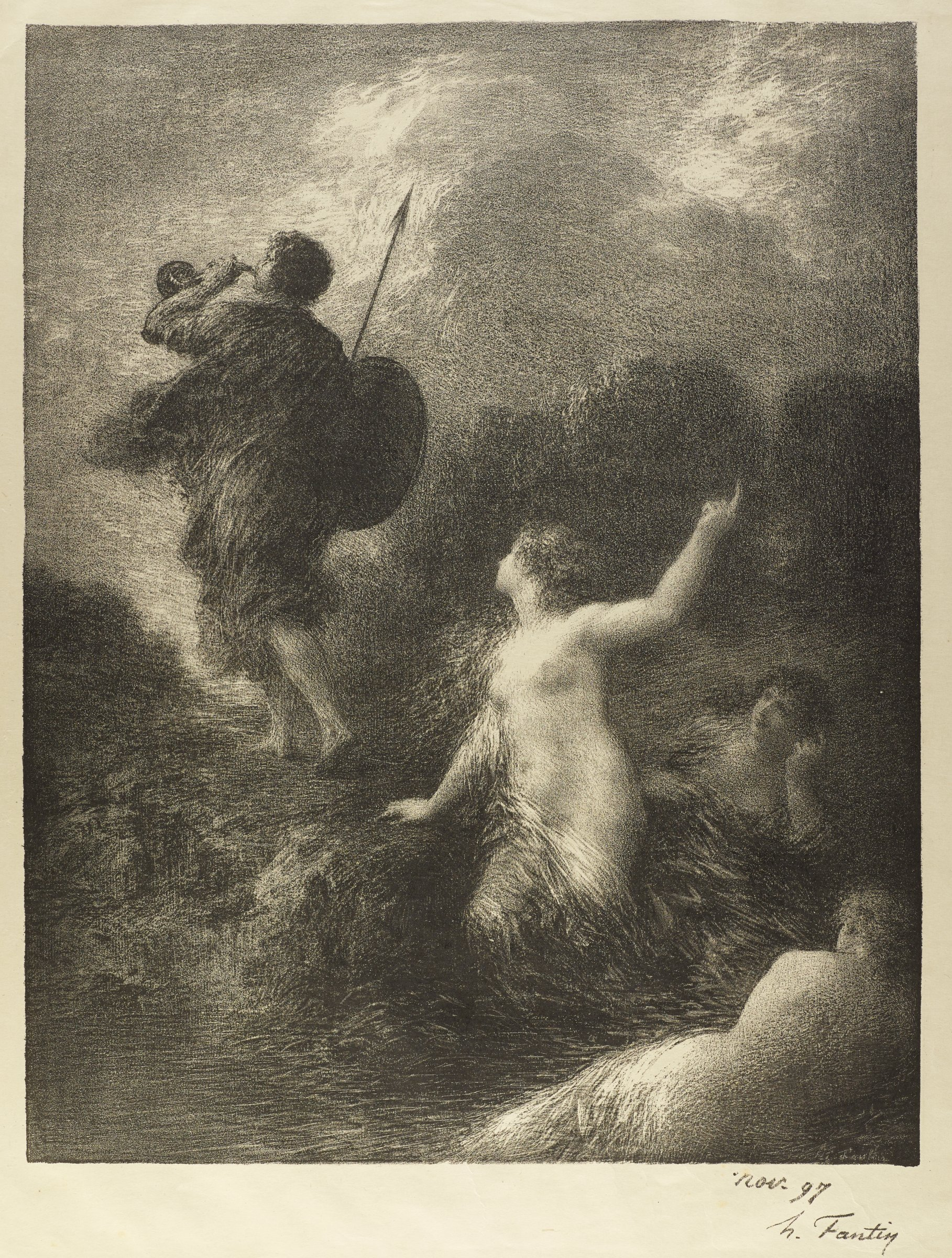 A male figure stands facing away from the viewer on the left. He blows a trumpet and holds a shield and harpoon. Three nude women are seen on the right. One woman stands, looks to the man and points with her left hand to the sky.