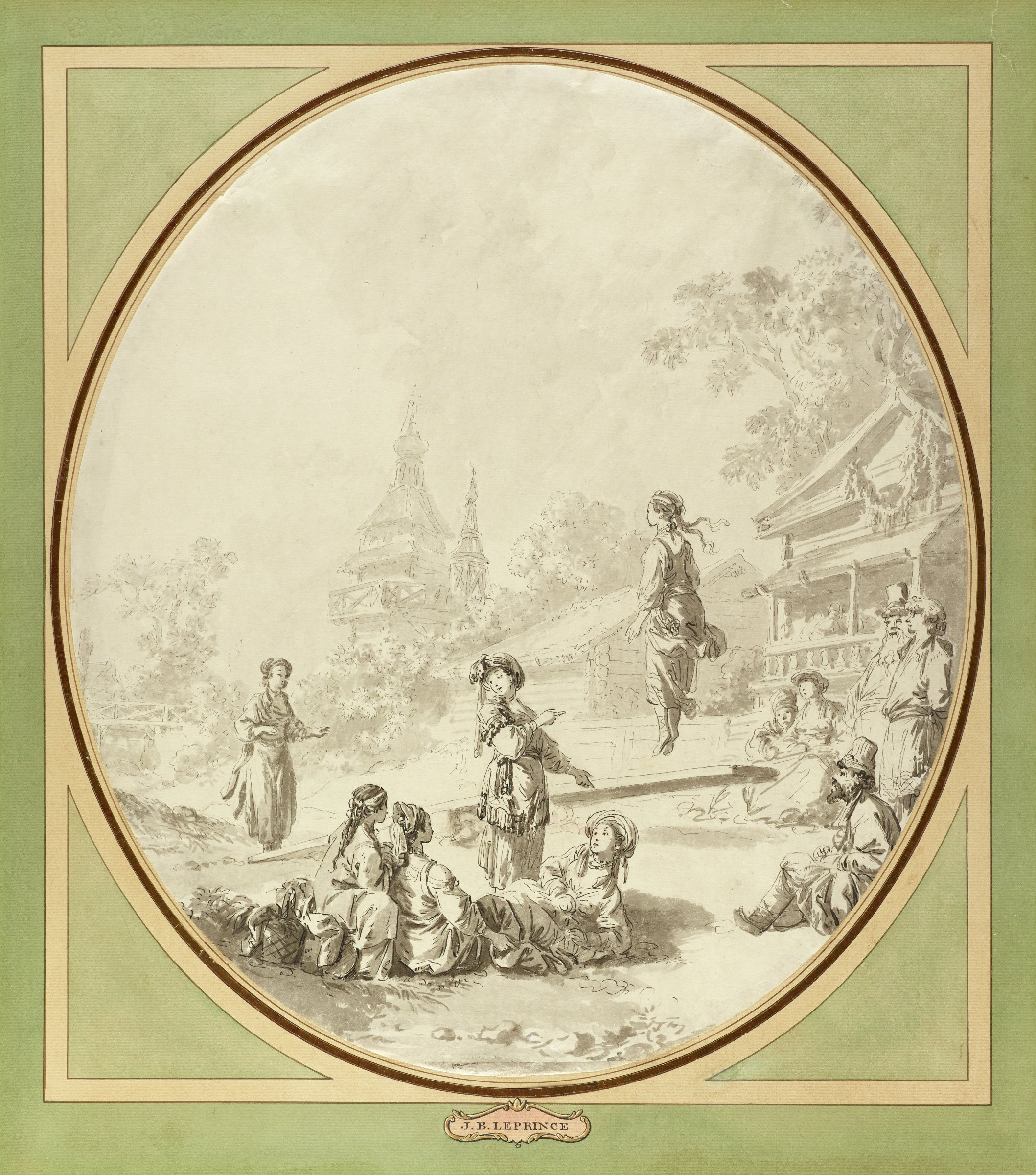 Multiple figures gather around to watch two women play on a seesaw. The central figure looks to a group of women sitting in the grass as she points to the woman on the seesaw that is suspended in the air.