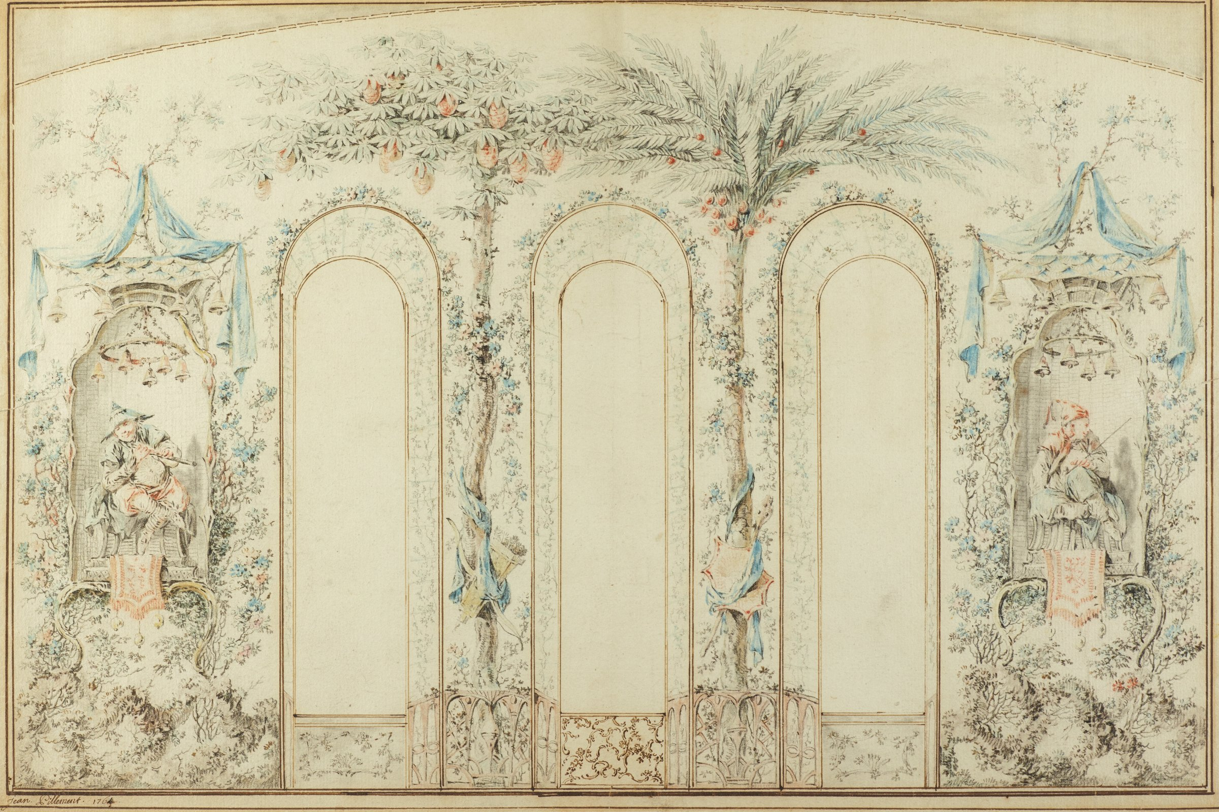 A wall with three arched windows is decorated with chinoiserie design. Flanking the windows on either side are niches with figures playing instruments.