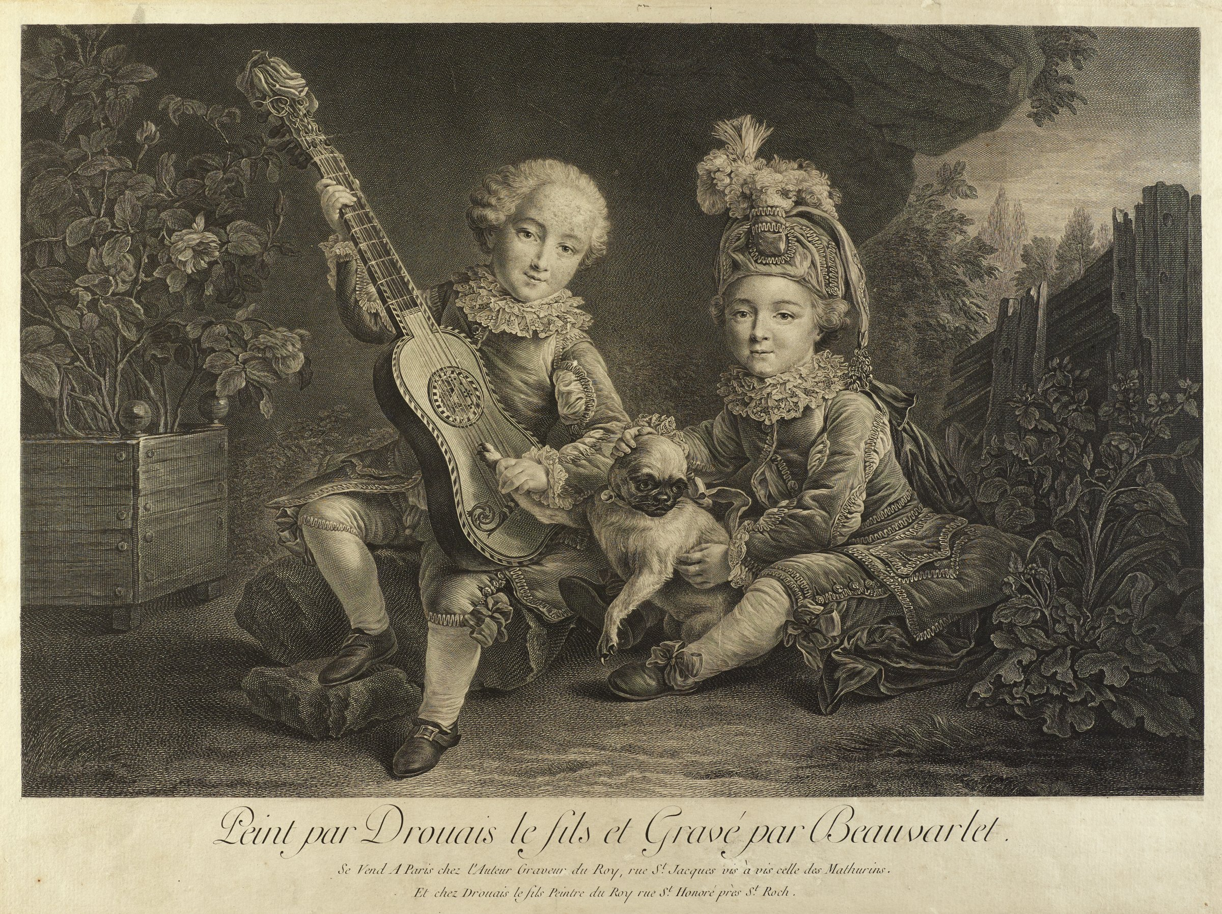 Two elaborately dressed children sit with a dog in a garden. The child on the left holds a small guitar, and he grabs the dog's paw to strum the instrument.