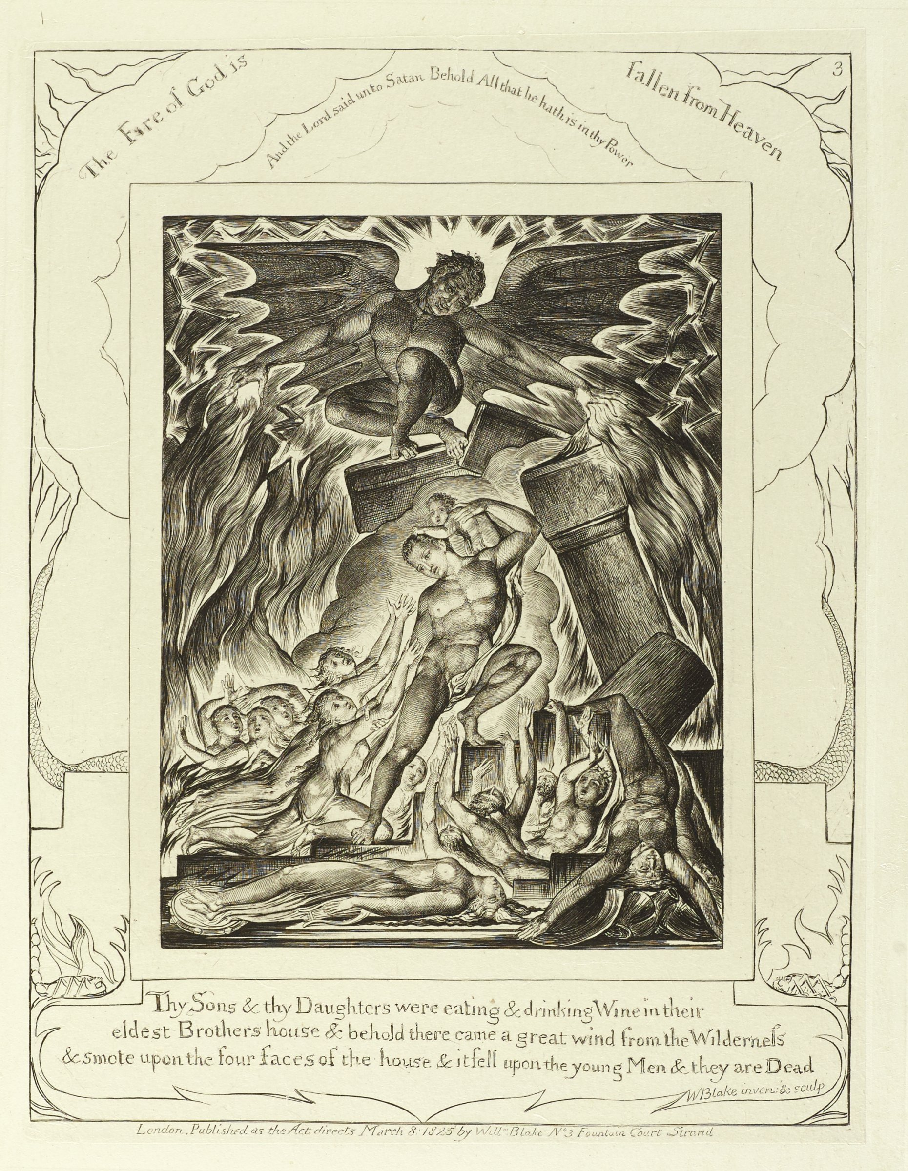 A man in the middle of the composition holds a baby on his left shoulder. Surrounding him are figures reaching up to him in desperation. A demon figure stands on top of a column and shoots fire from his hands. The image is surrounded in the margins with text.