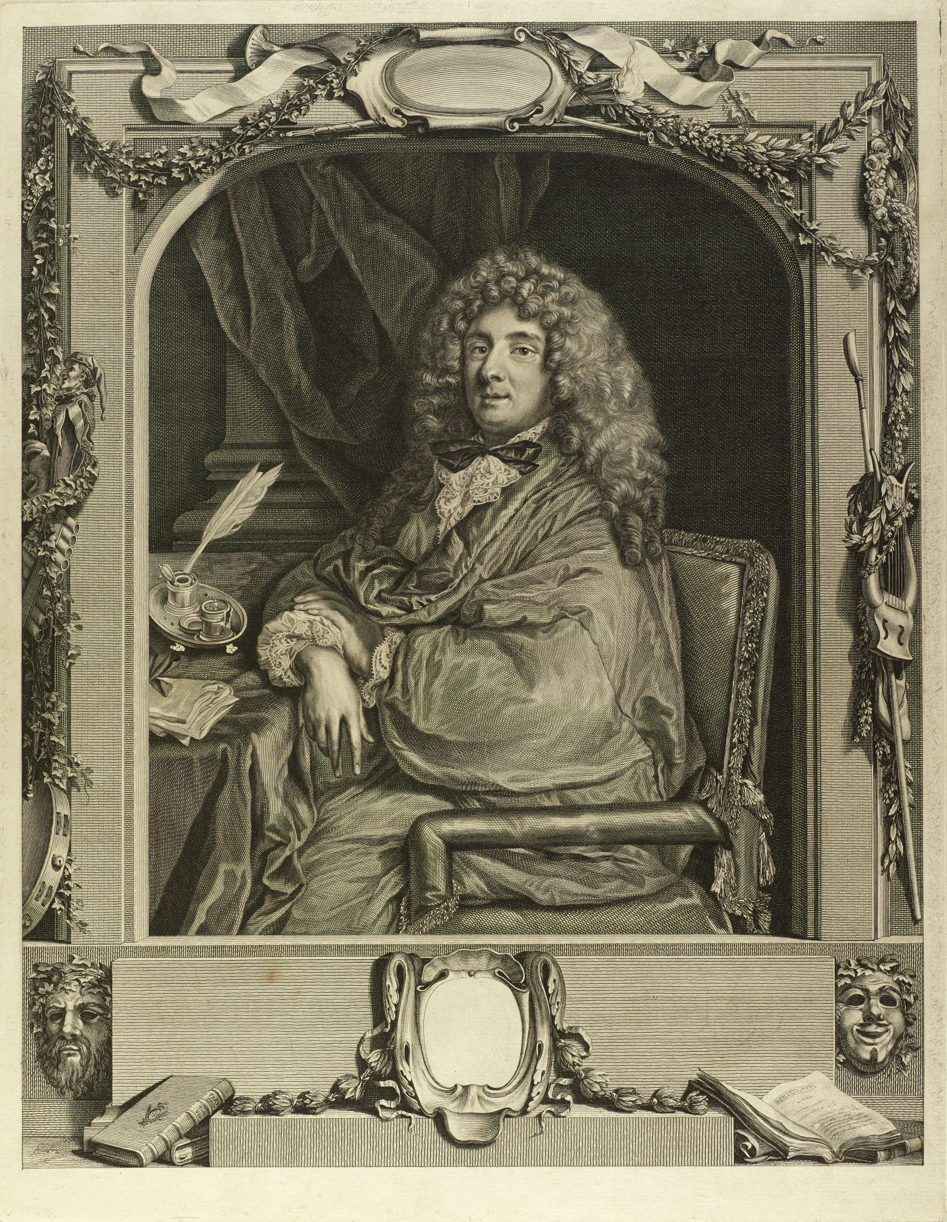 Portrait of a man with long curly hair sitting in an ornate chair. He rests his right arm on a table. A swaged curtain hangs behind him. This portrait is surrounded in the borders by instruments, books, masks, and foliage.