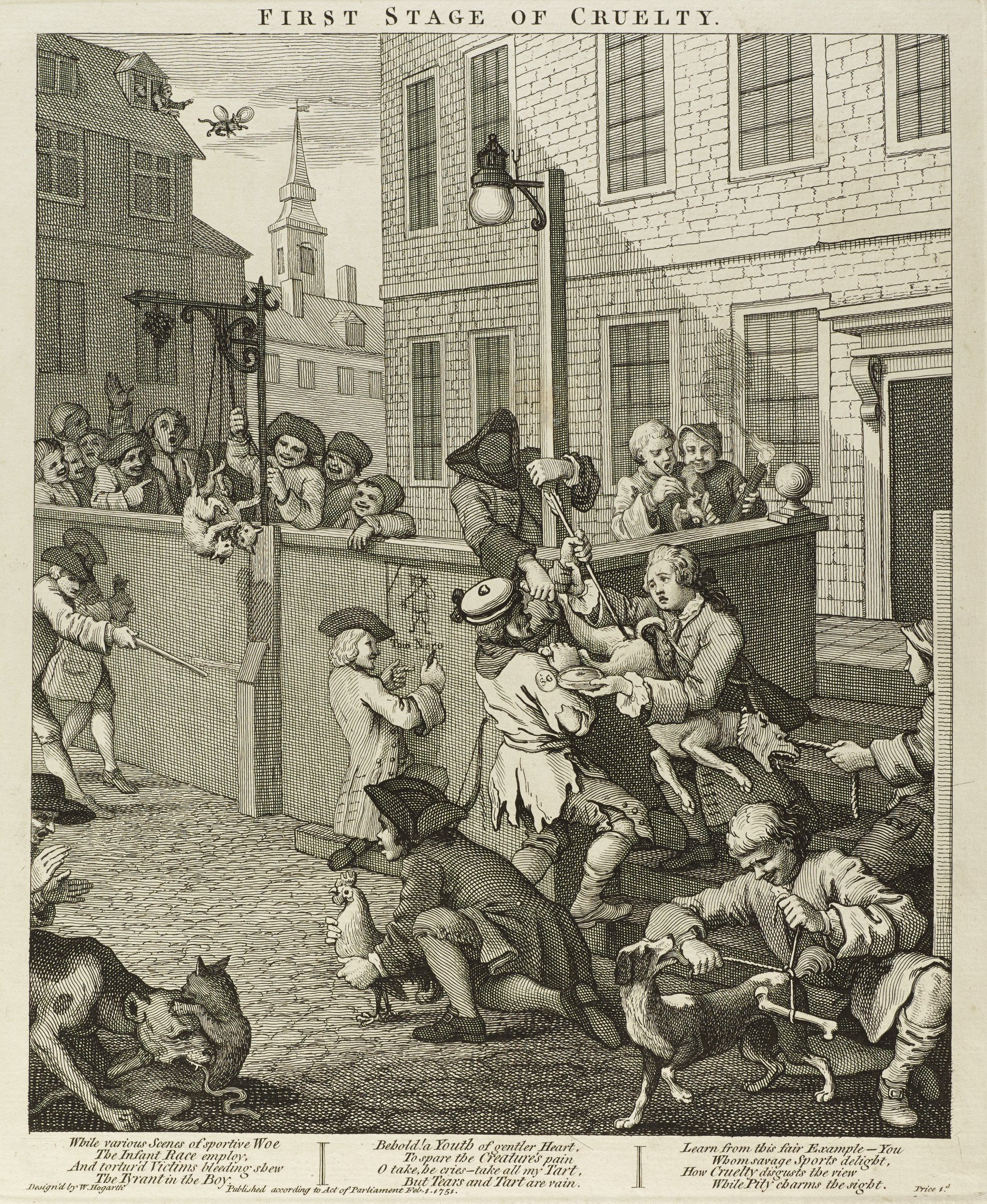 A scene on a street where men are doing various cruel act to cats, dogs, and chickens. Hogarth published this set to alert his contemporaries about the cruel treatment that animals had to endure in eighteenth century England.