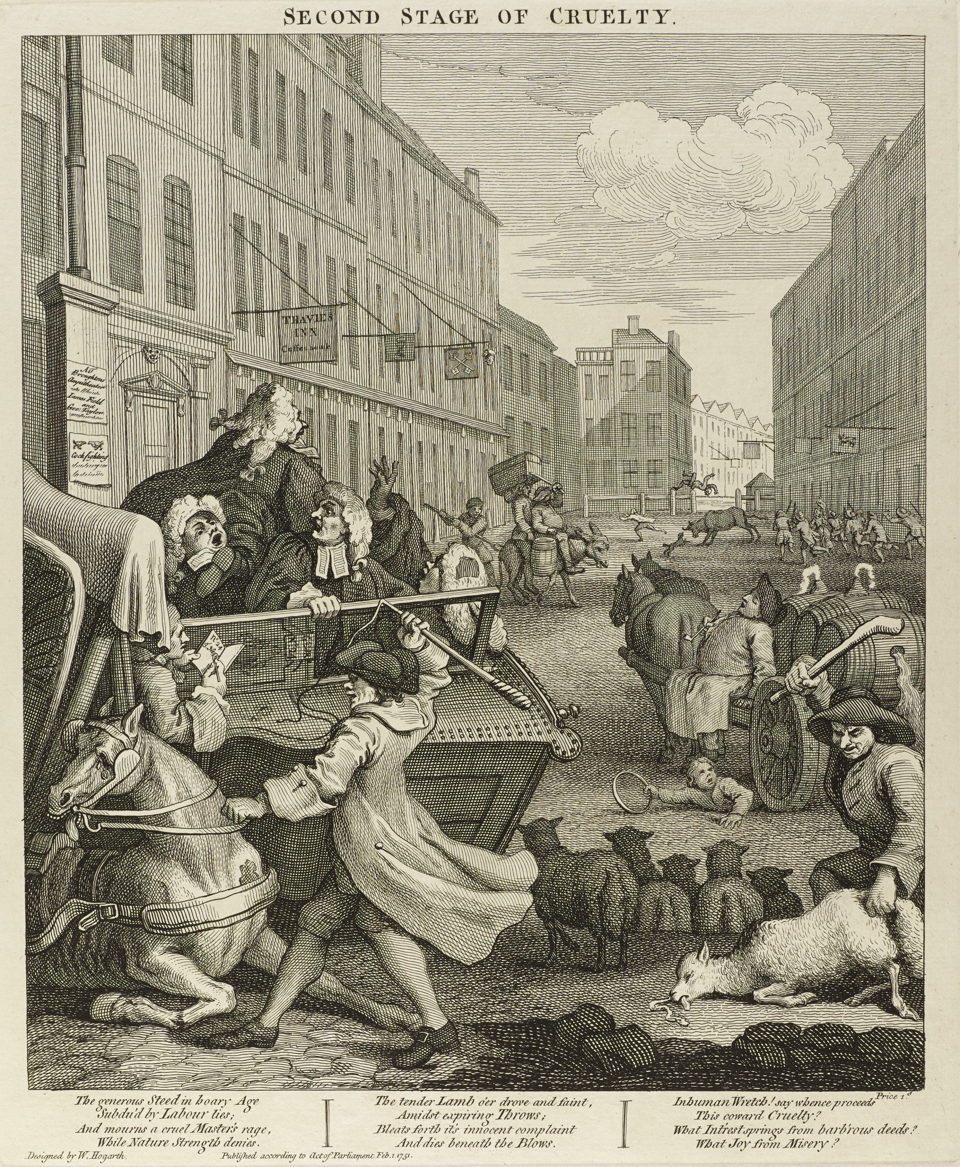 Scene on a street with men on carriages and riding on donkies. Men are hitting animals throughout the scene. In the background a bull toss a man in the air. Hogarth published this set to alert his contemporaries about the cruel treatment that animals had to endure in eighteenth century England.