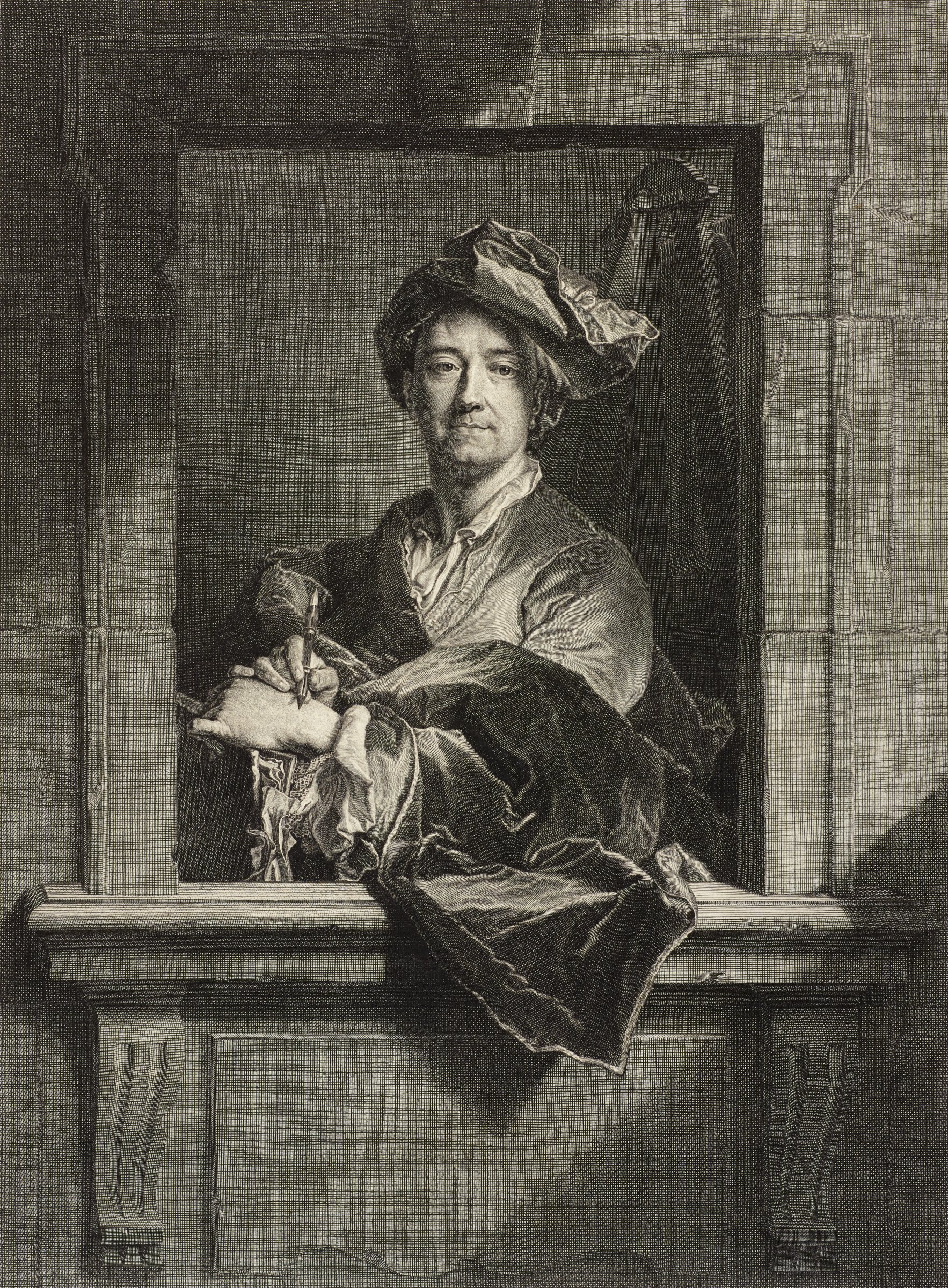Half-length man seen through an architectural opening, his cloak spilling across the ledge and into the viewer's space. In his left hand is a portfolio with sheets of paper visible, while his right hand holds a stylus. He wears a typical painter's hat. The back of an easel is visible in the room behind the man.