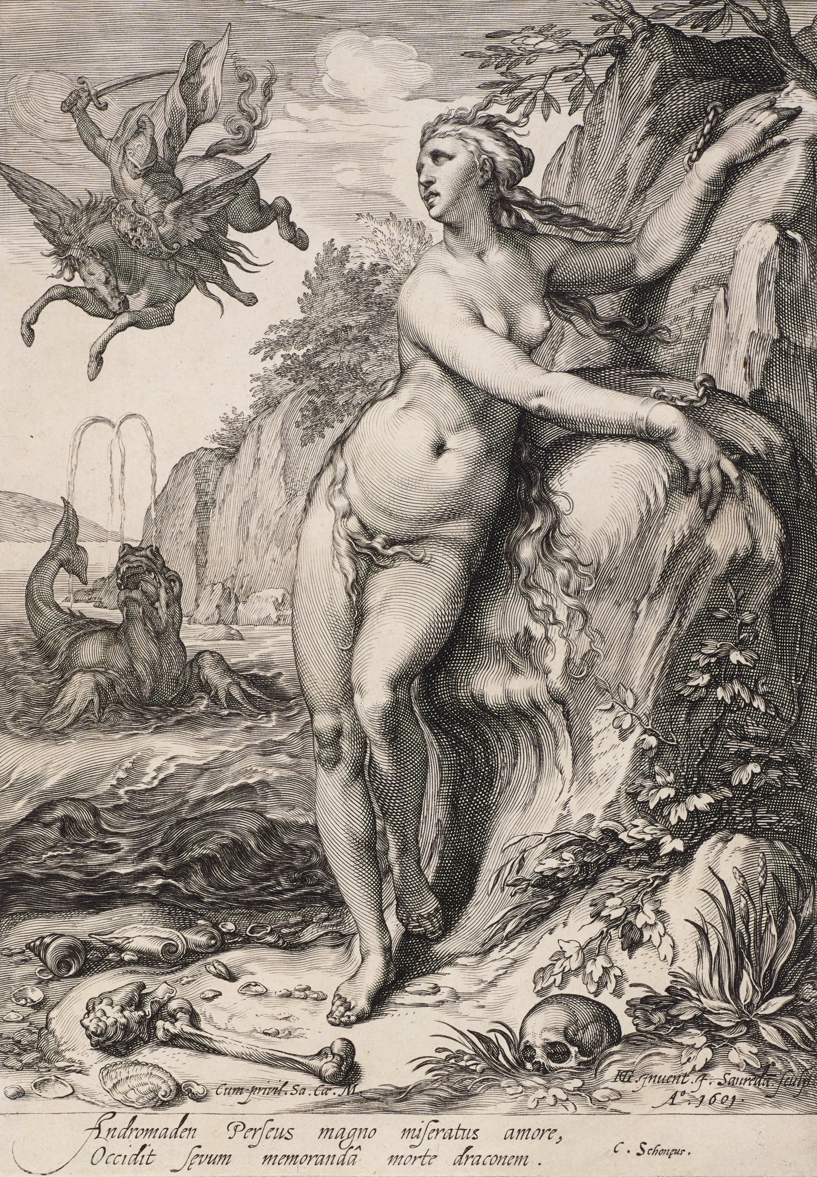 Andromeda stands nude with both arms chained to a bolder. Around her are scattered human bones and sea shells. Behind her Perseus fights the sea creature.
