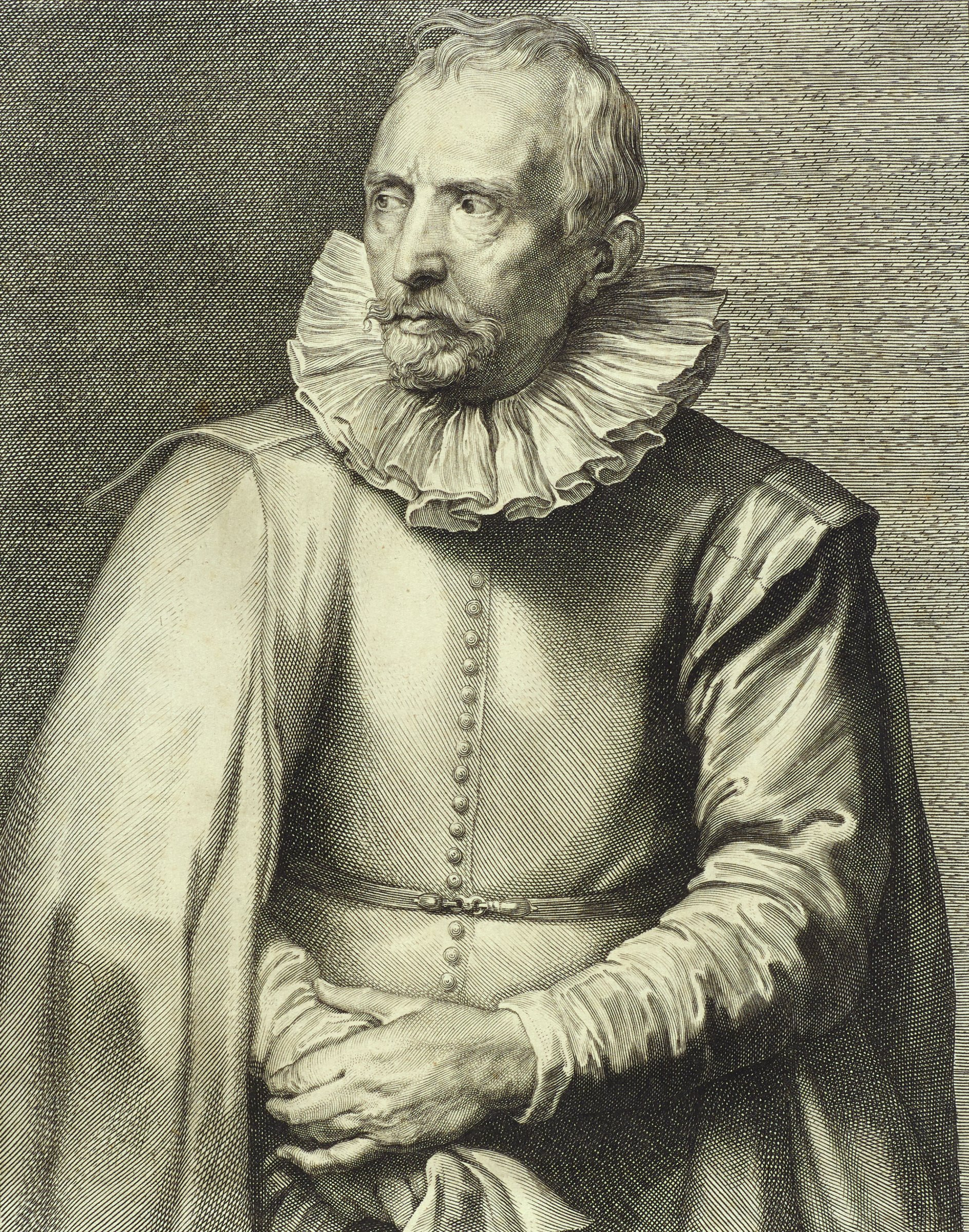 Cornelis van der Geest was a merchant and art collector. He is seen here in portrait from the waist up. He wears a ruff and a cloak hanging over his right arm. He looks to the proper right and crosses his arms at his stomach. This image is from the Gillis Hendricx edition of the Iconography (Icones Principum Virorum Doctorum, Pictorum Chalcographorum Statuorum nec non Amatorum Pictoriae Artis Numero Centum), 1632-44.