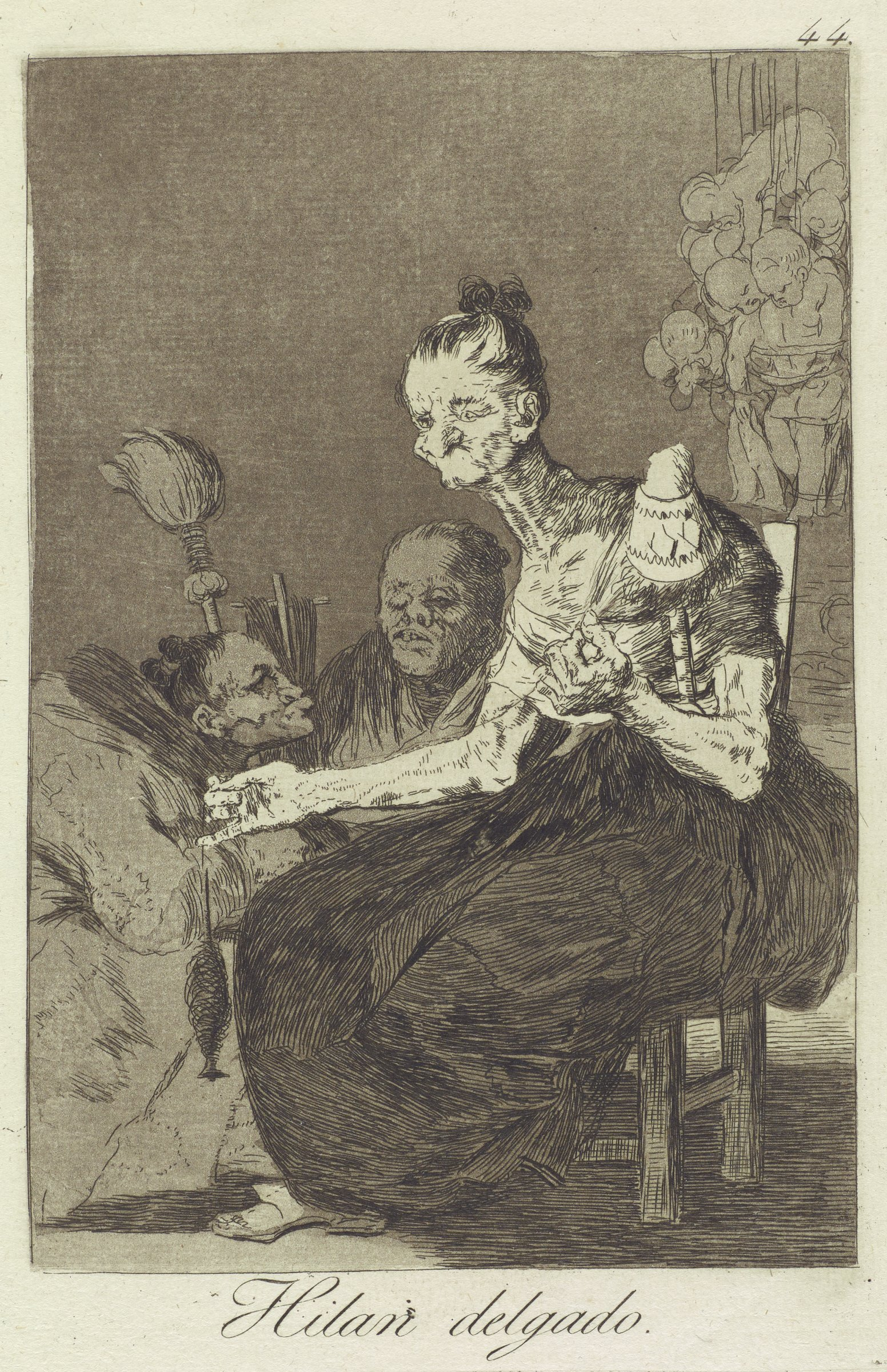 Three women with grotesque appearances spin thread. One woman sits in a chair and two women crouch behind her. In the upper right background hangs a group of babies.