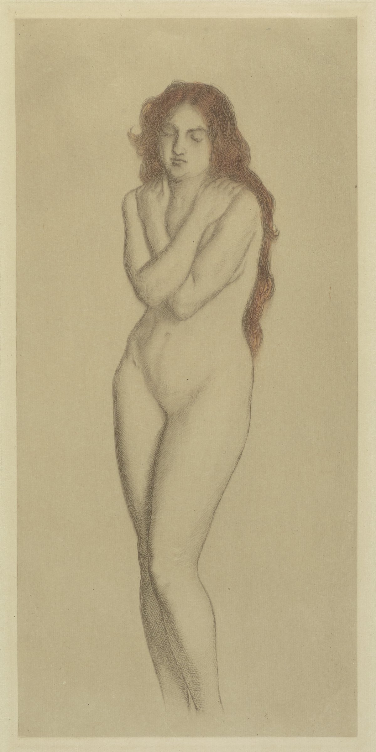 Figure drawing of a standing nude woman with her arms crossed across her chest and hands resting on her shoulders. The only color in the print is her long red hair.