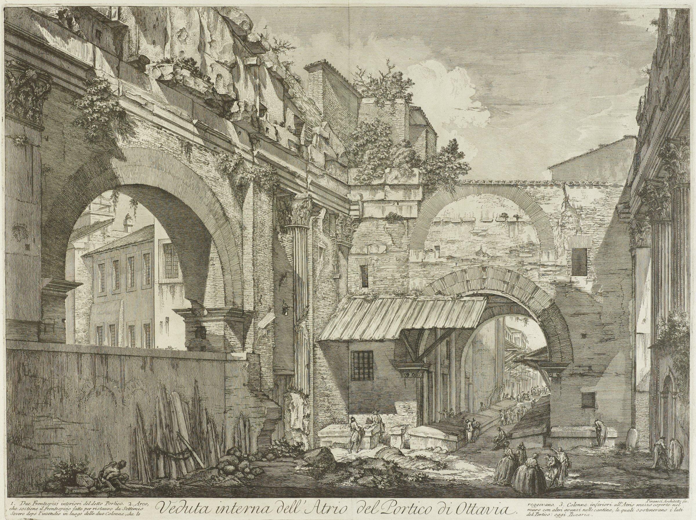 The Portico of Octavia: The Entrance Porch.  Interior, Giovanni Battista Piranesi, etching
