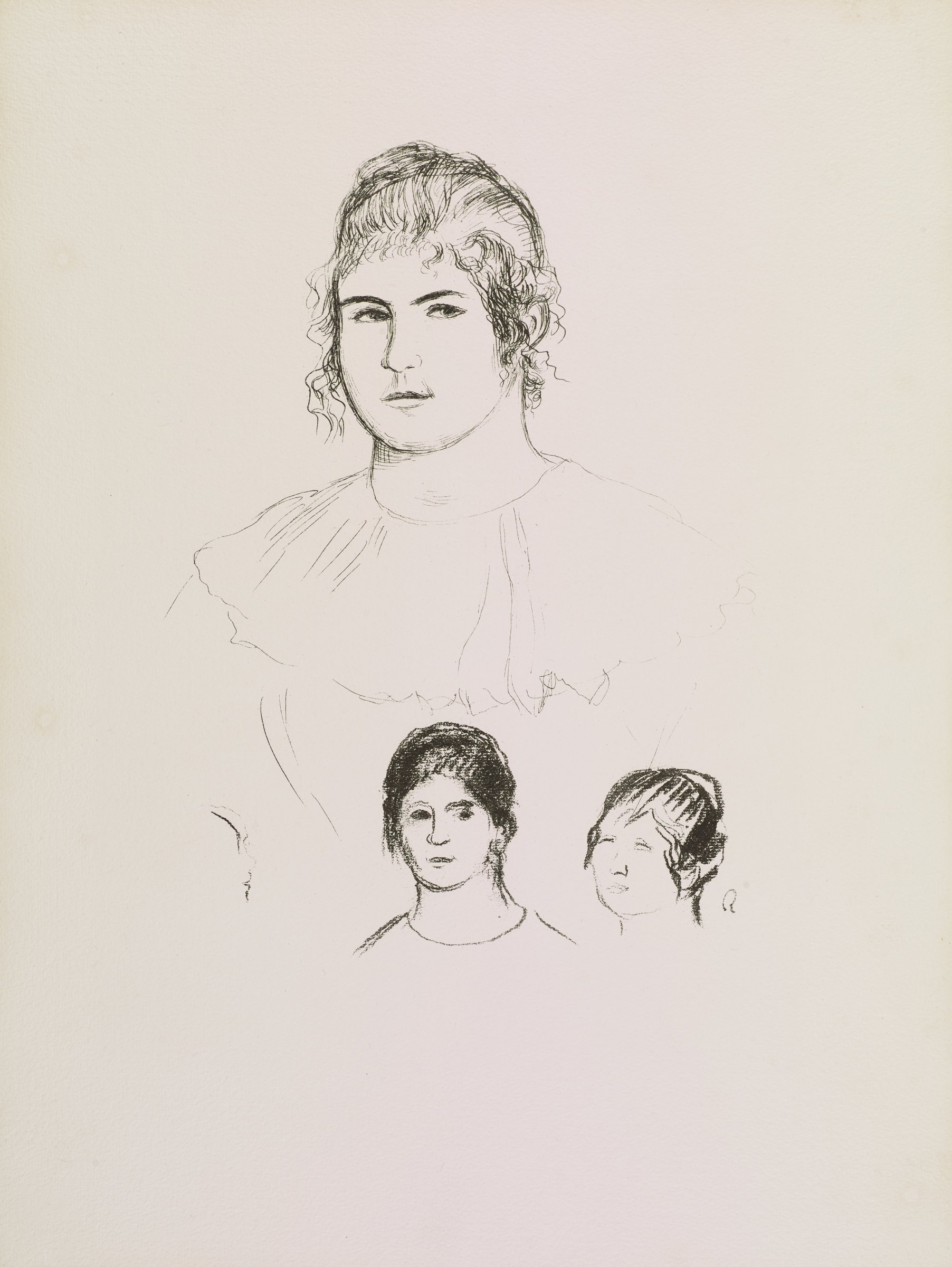 Three sketch bust portraits of Gabrielle Renard (1878-1959), Renoir's long time maid. The largest portrait is positioned on top, where her face is detailed and her dress is outlined.