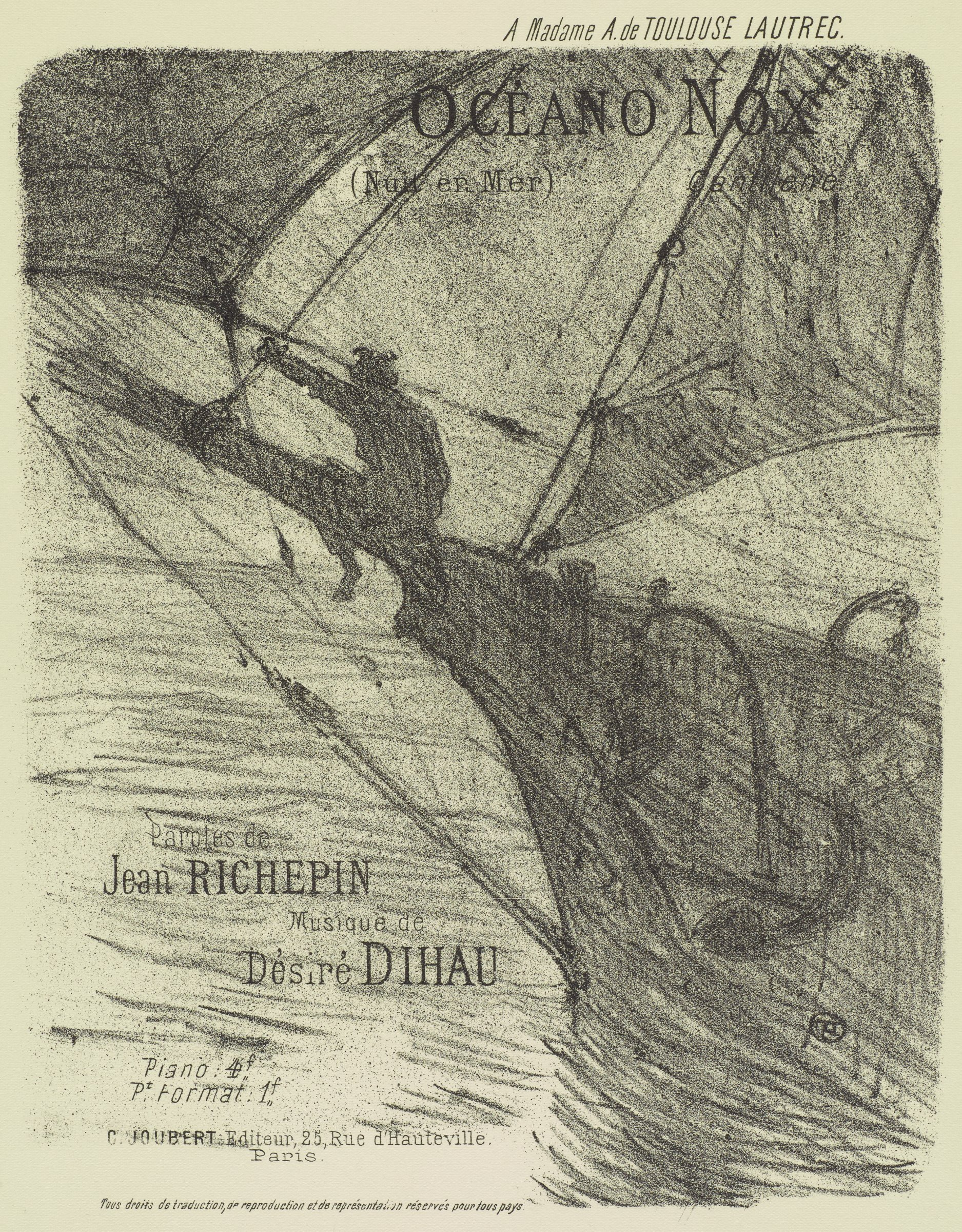 A figure sits on the front of a ship with his back toward the viewer. Various text, including the title, is printed across the composition.