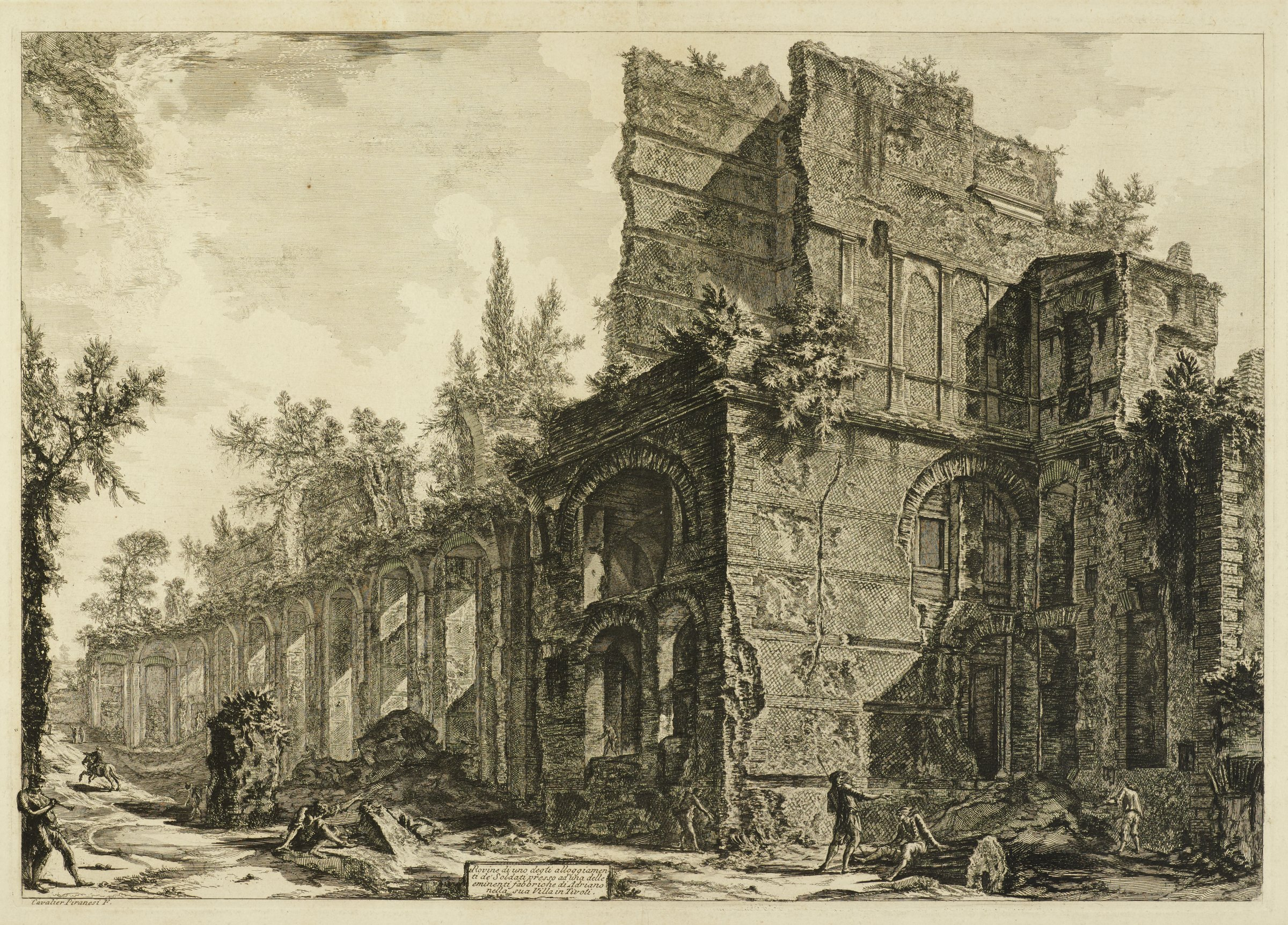 Hadrian's Villa: The Remains of the so-called Pretorio, Giovanni Battista Piranesi, etching with engraving and sulfur tint