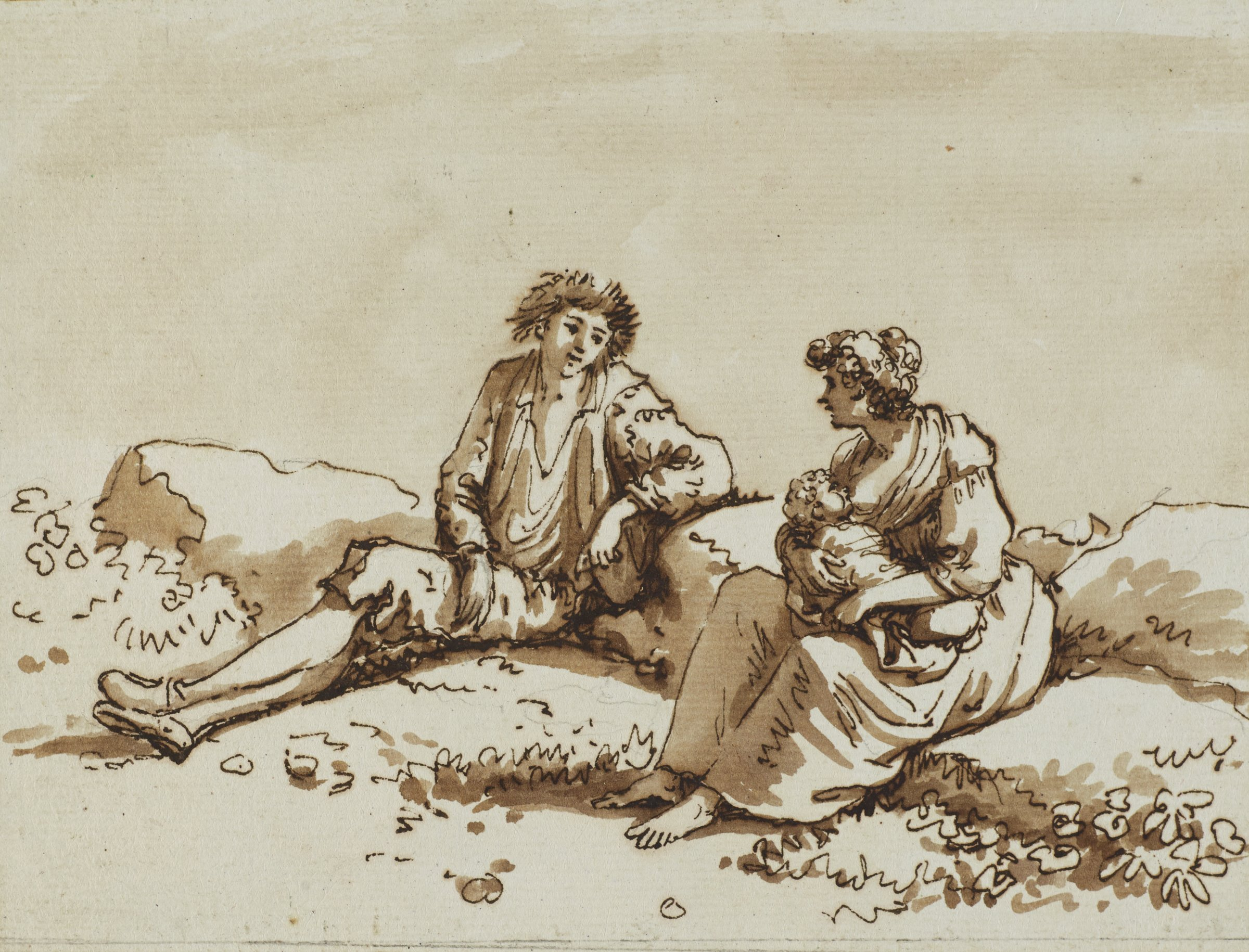 A couple and an infant are depicted. The man reclines on a rock as the woman nurses the infant. The couple is in conversation with one another.