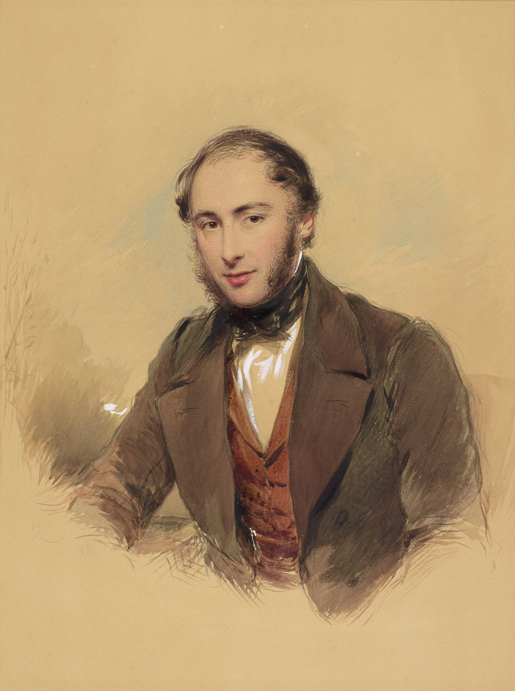Portrait of a male figure, half-length, dressed in a brown jacket with a red vest and bow tie looking out at the viewer.