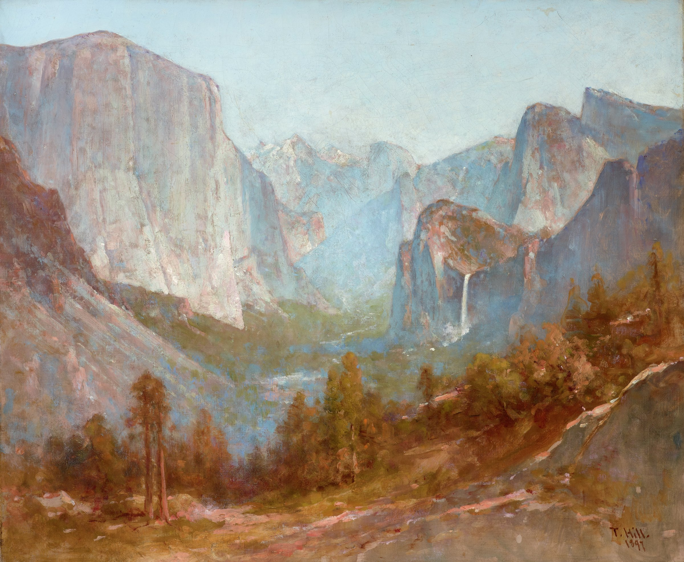 This painting represents a view of a valley. Rocky, treeless mountains rise to the left and right size of the canvas, with sandy, yellow-brown ground, trees, and shrubs in the foreground. The purple and gray mountains are shrouded in mist and recede into the background.