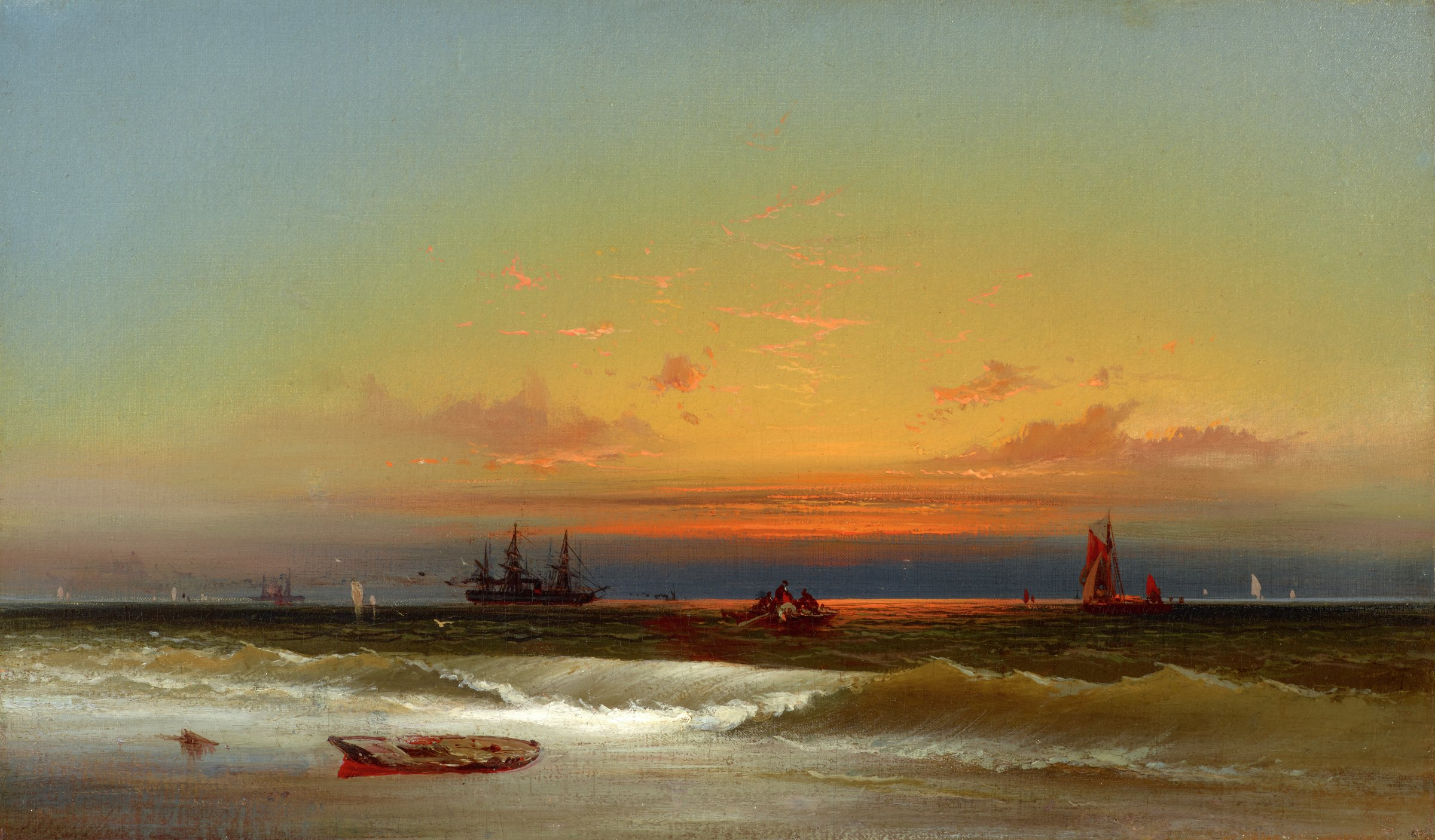 This painting represents a cresting wave breaking on a shoreline. A boat rests in shallow water and sand just in front of the breaking wave. Many boats are visible scattered at sail, offshore. Just above the horizon is a brilliantly colored sunsest and a sky with scattered clouds.