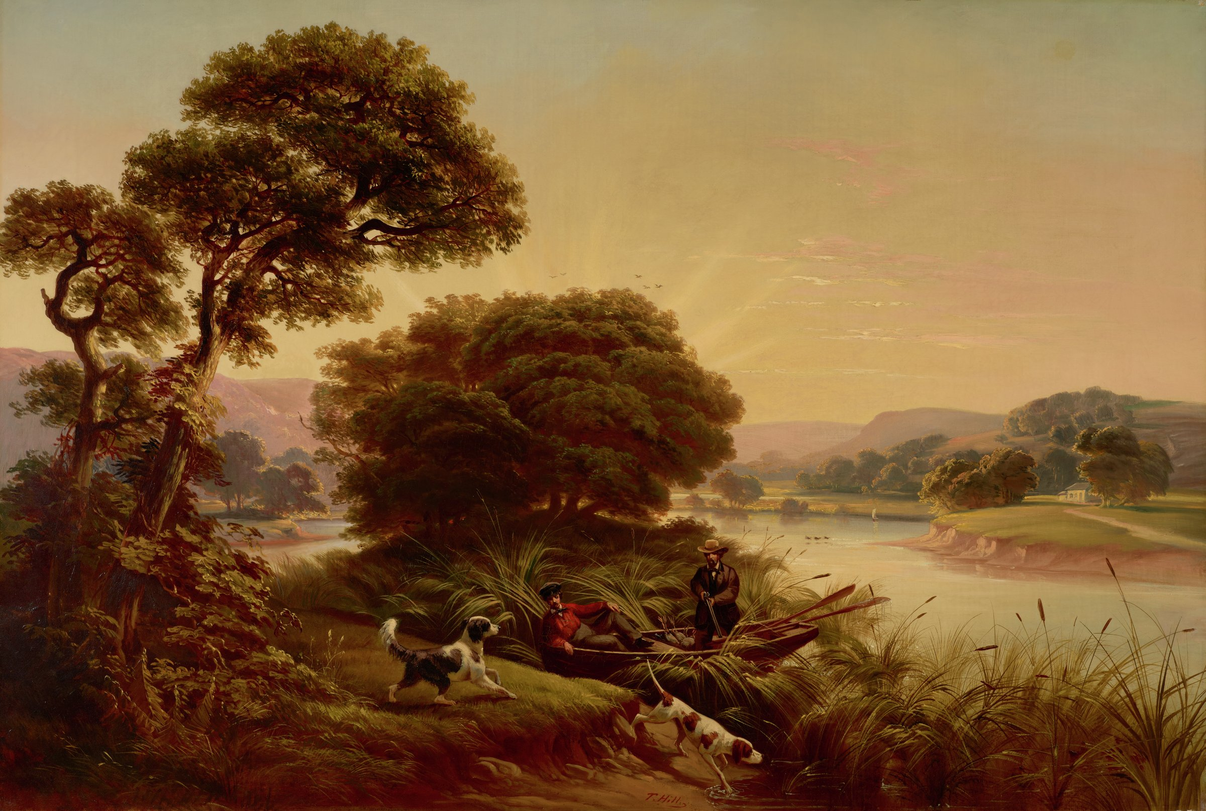 This landscape painting represents an expansive scene with two dogs on a foreground shore, and two men in a rowboat at the edge of a body of water heavily overgrown with water grasses. There are trees in the left foreground and behind the men, as well as an open body of water. On the bank of land across the body of water is a home situated in a landscape that includes low, rolling mountains.