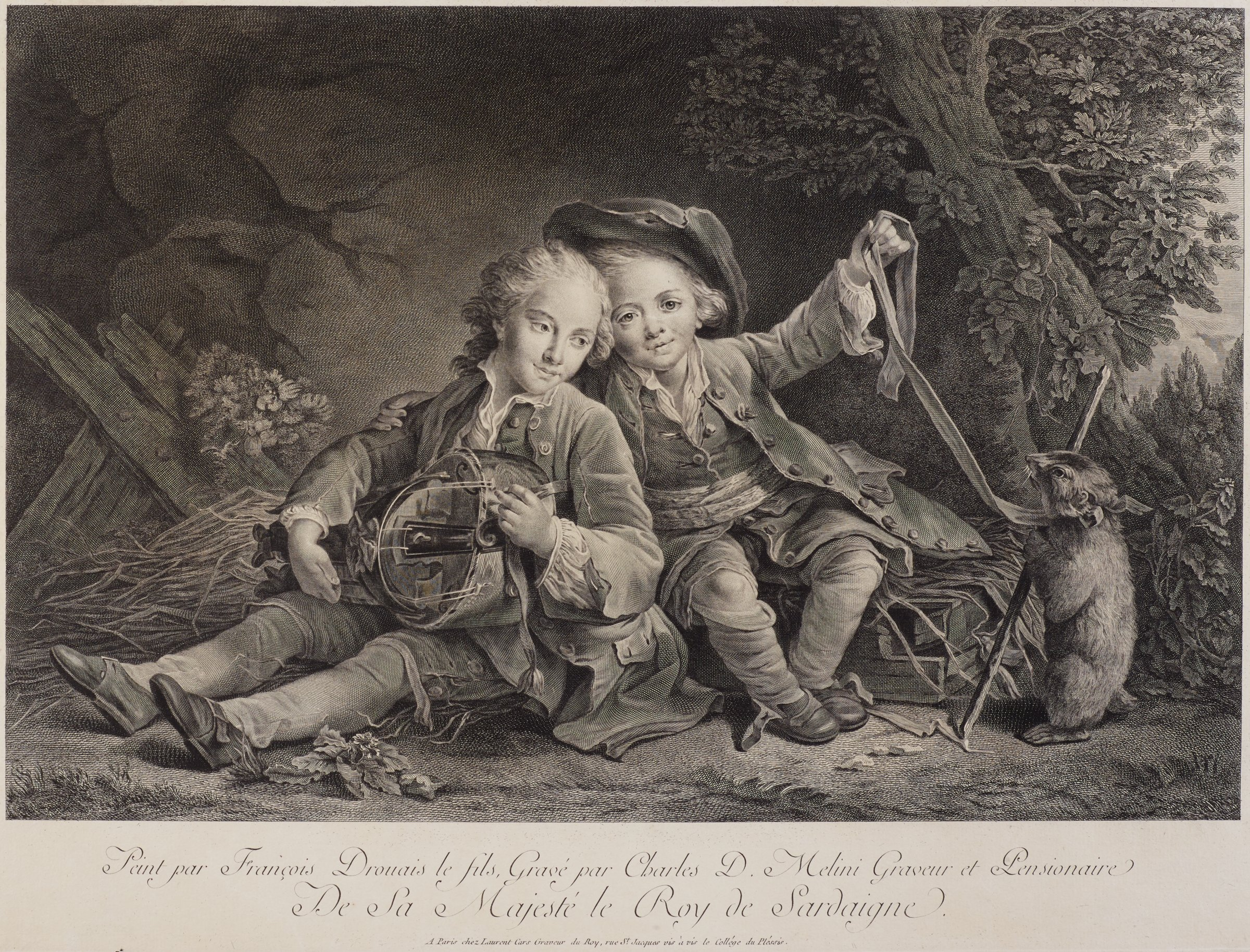 Two children sit in the center of the composition. One child holds a leash of a marmot. They sit in front of a cracking wall, straw, and pieces of wood. Behind them on the right is a tree.