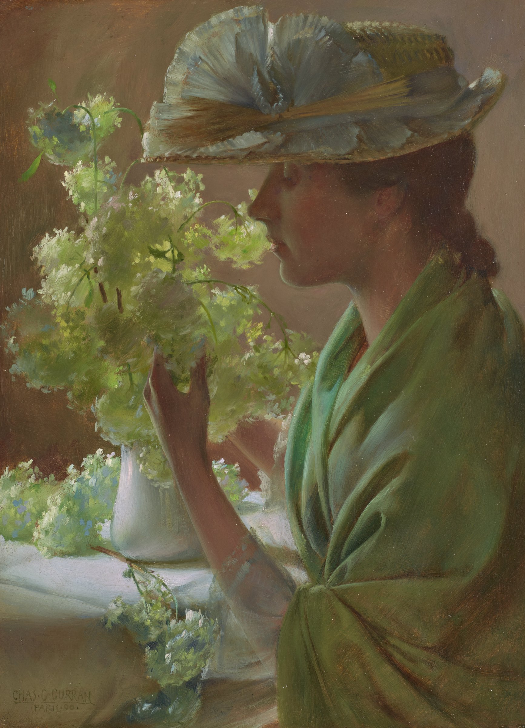 Lady with a Bouquet (Snowballs), Charles Courtney Curran, oil on wood panel