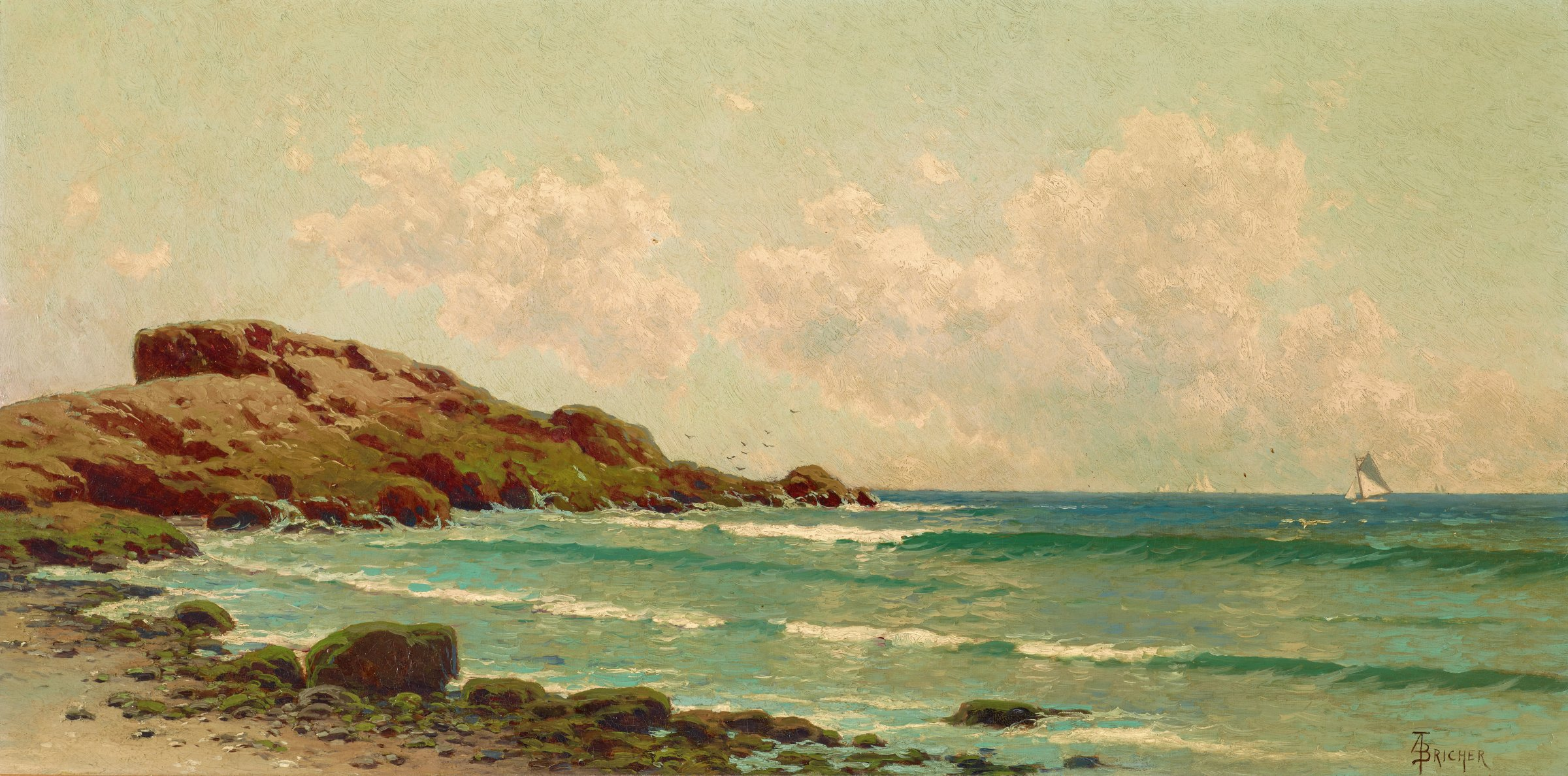 This painting represents a seascape with two waves rolling into shore breaking at the right of the composition. They break onto a rocky coastline that begins in lower center of the painting and extends up the left side of the painting. The rocks become a natural jetty that curves out to sea from the center left edge of the painting. One sailboat is close to shore and clearly identifiable, while a number of sailboats can be seen on the distant horizon.
