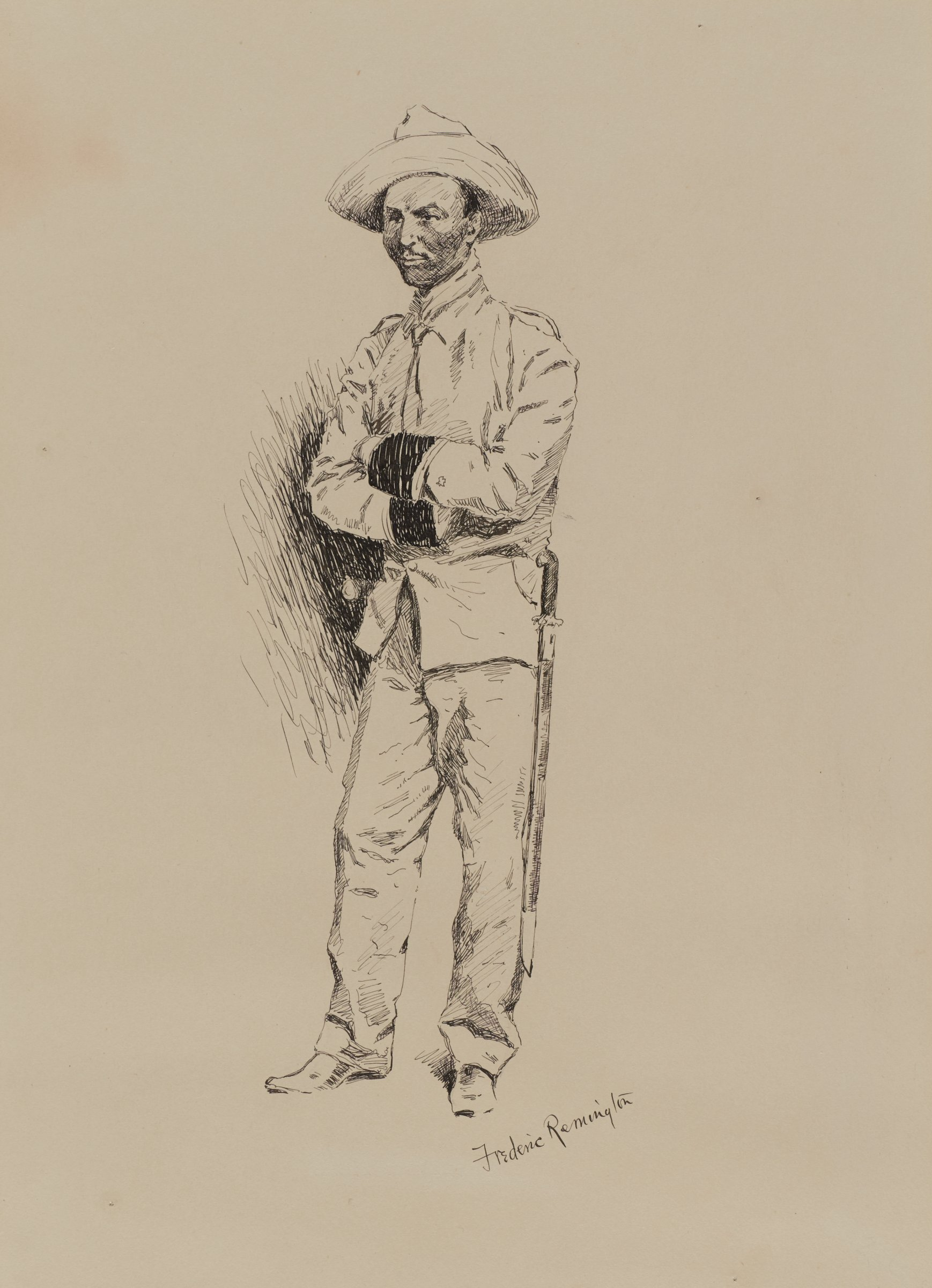 Young Spanish Officer, Frederic Remington, ink on paper