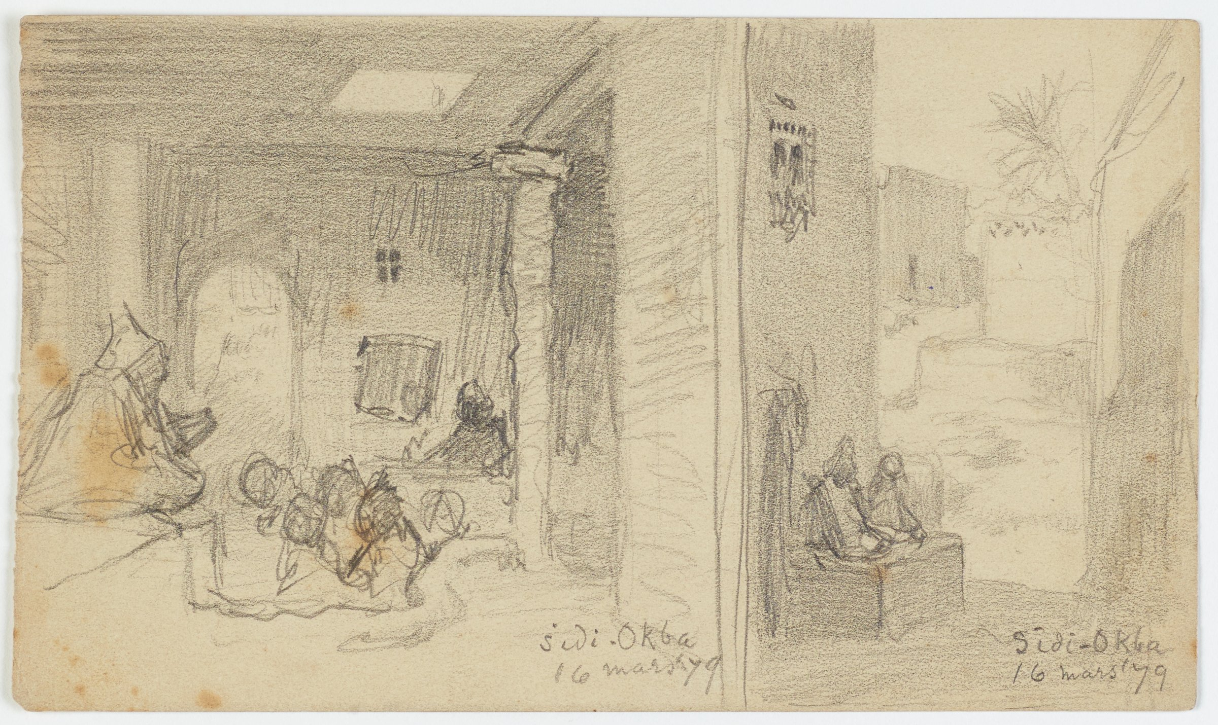 This drawing in pencil on paper is divided into two scenes by a vertical line just right of the center of the sheet. In the scene on the left, figures are quickly sketched in an interior. There is an arched doorway on the back wall, a light squre in the ceiling, and roughly sketched architectural elements defining an interior space. In the scene on the right, a street or alley lined with buildings is quickly sketched. Buildings flank the road to the left and right, receding into space, and a tree is visible at the upper right.