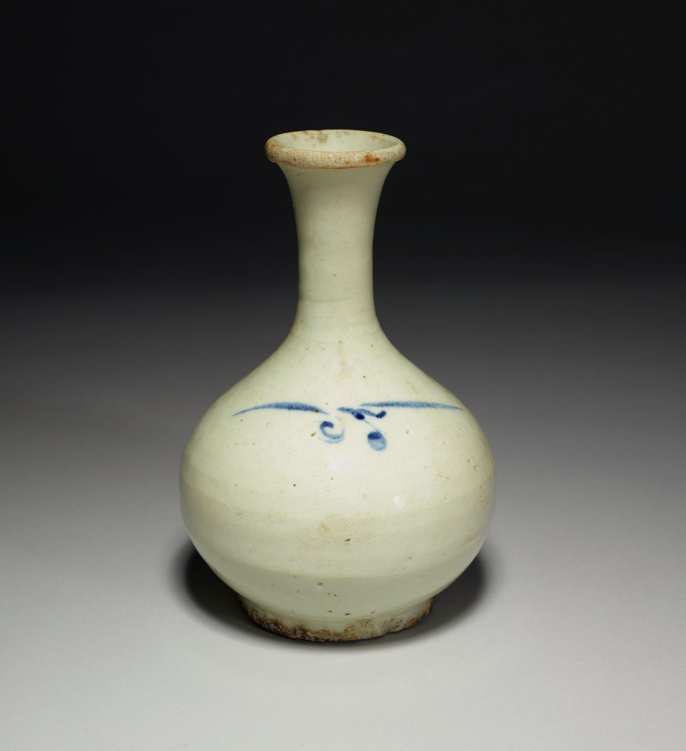 Long-Neck Bottle with Blue Floral Motif on shoulder