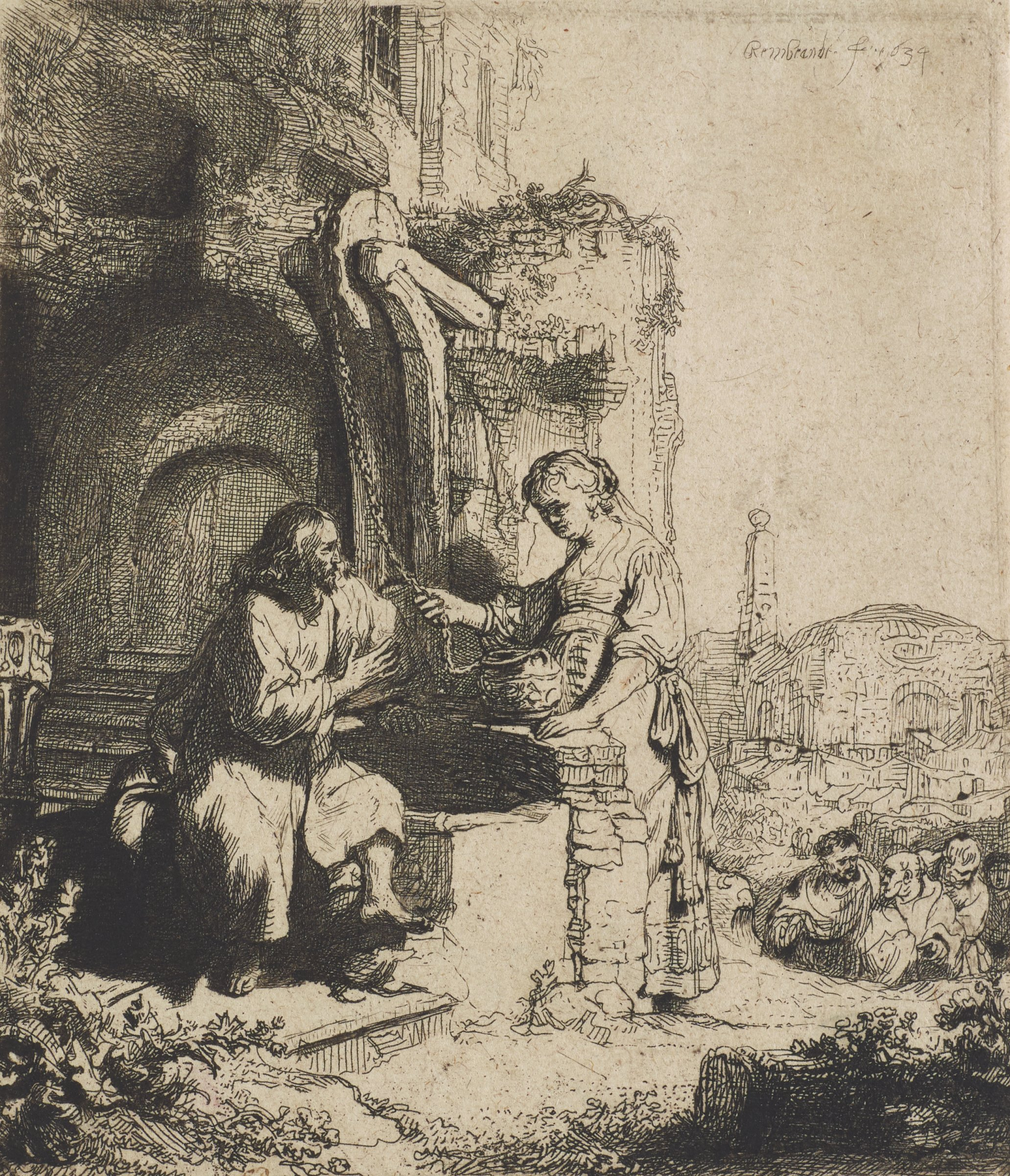 Jesus sits on the side of a well as the Samarian woman stands holding a rope connected to her water jug. Jesus leans towards her in conversation. On the right a group of figures converse with one another as if discussing the scene unfolding before them.