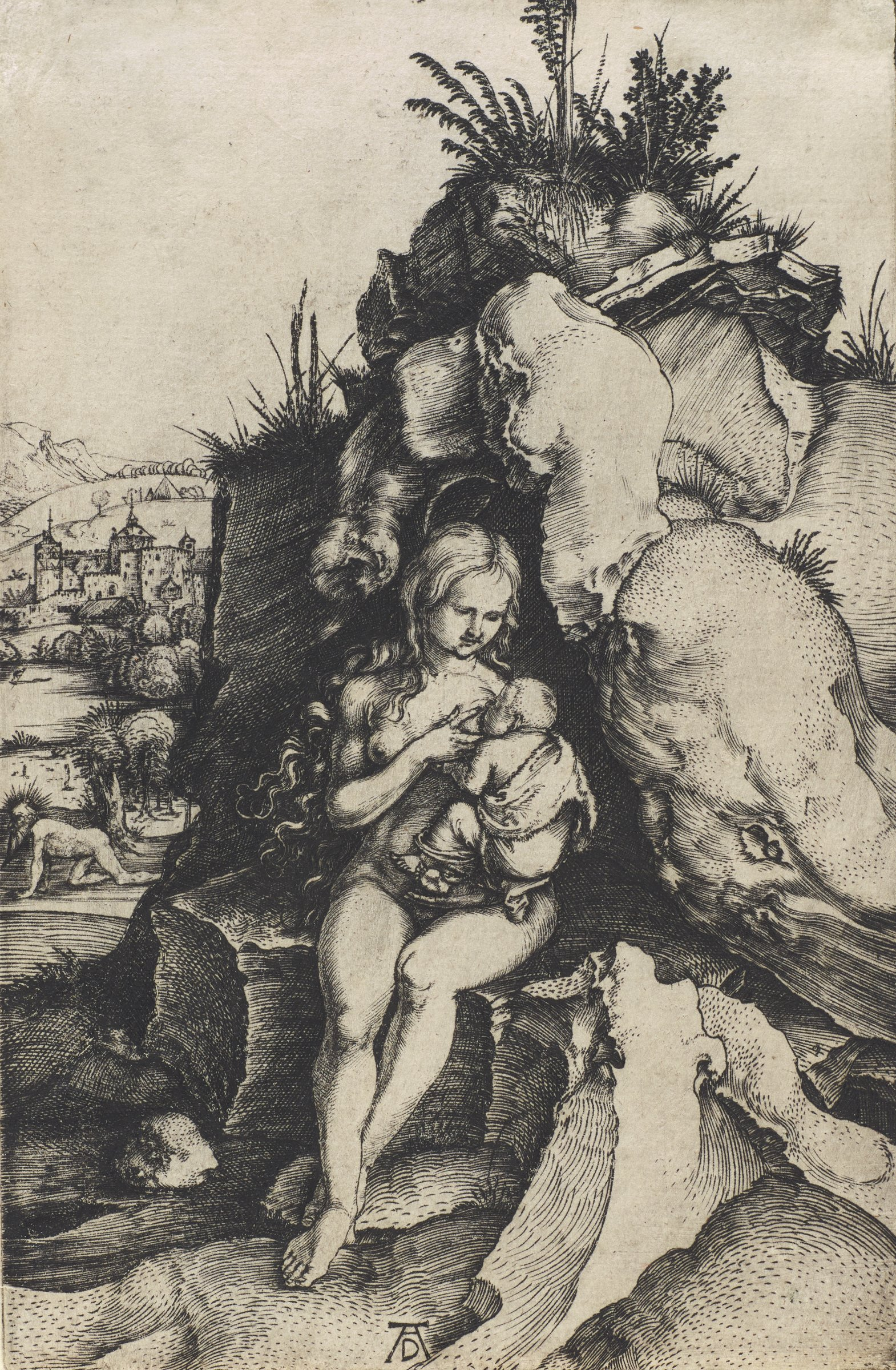 A nude mother nurses her infant child in the center of the composition. She sits on a rocky hillside. To the left of her a nude man crawls on his hands and knees. In the background is a town.